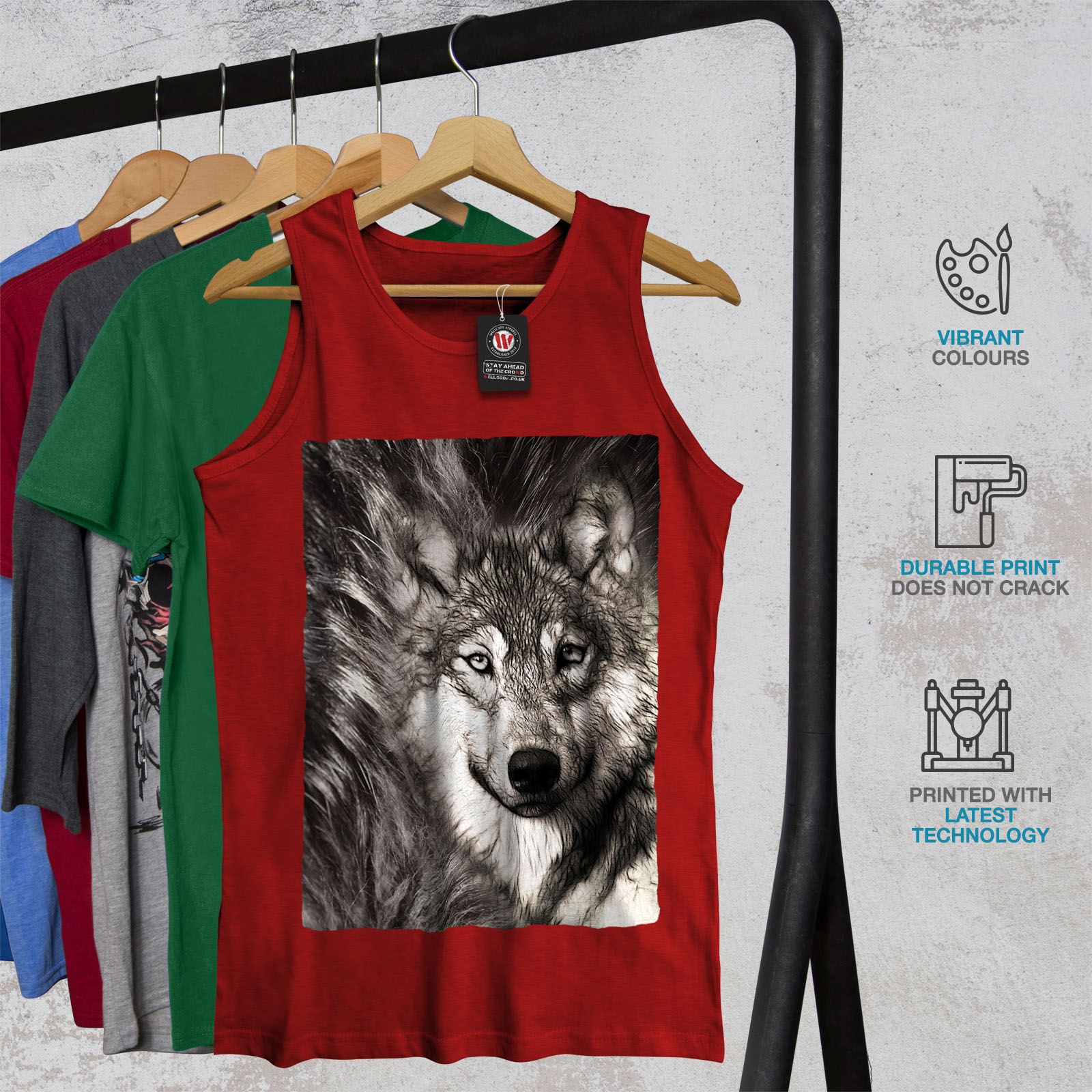 Wild Active Sports Shirt Wellcoda Lonely Wolf Face Mens Tank Top