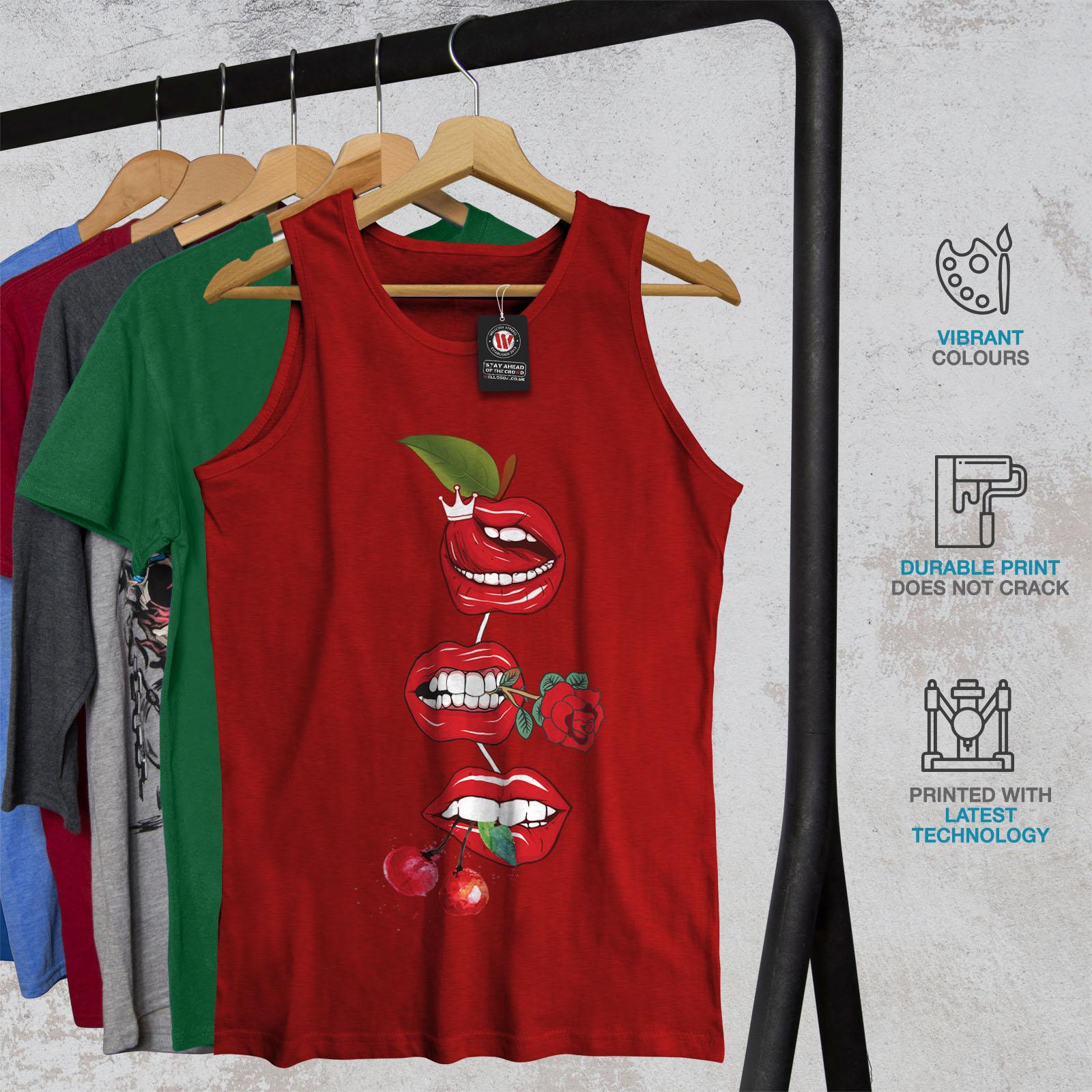 Wellcoda Lip Cherry Cool Da Uomo Canotta ROCK /& ROLL Camicia di Sport Attivo