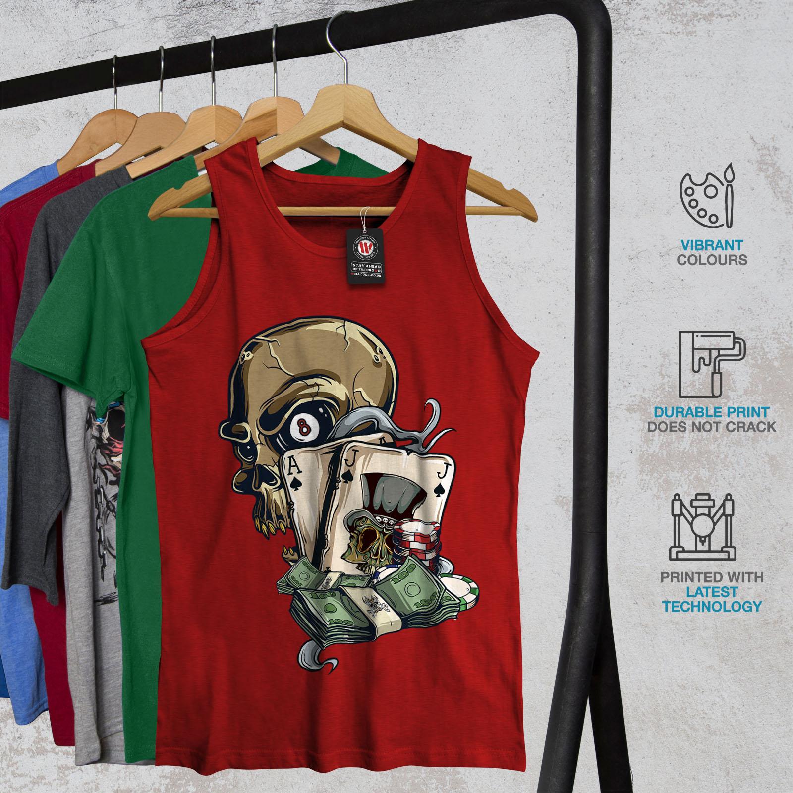 jouer Gamble Active Sports Shirt Wellcoda Crâne Poker Card Homme Tank Top