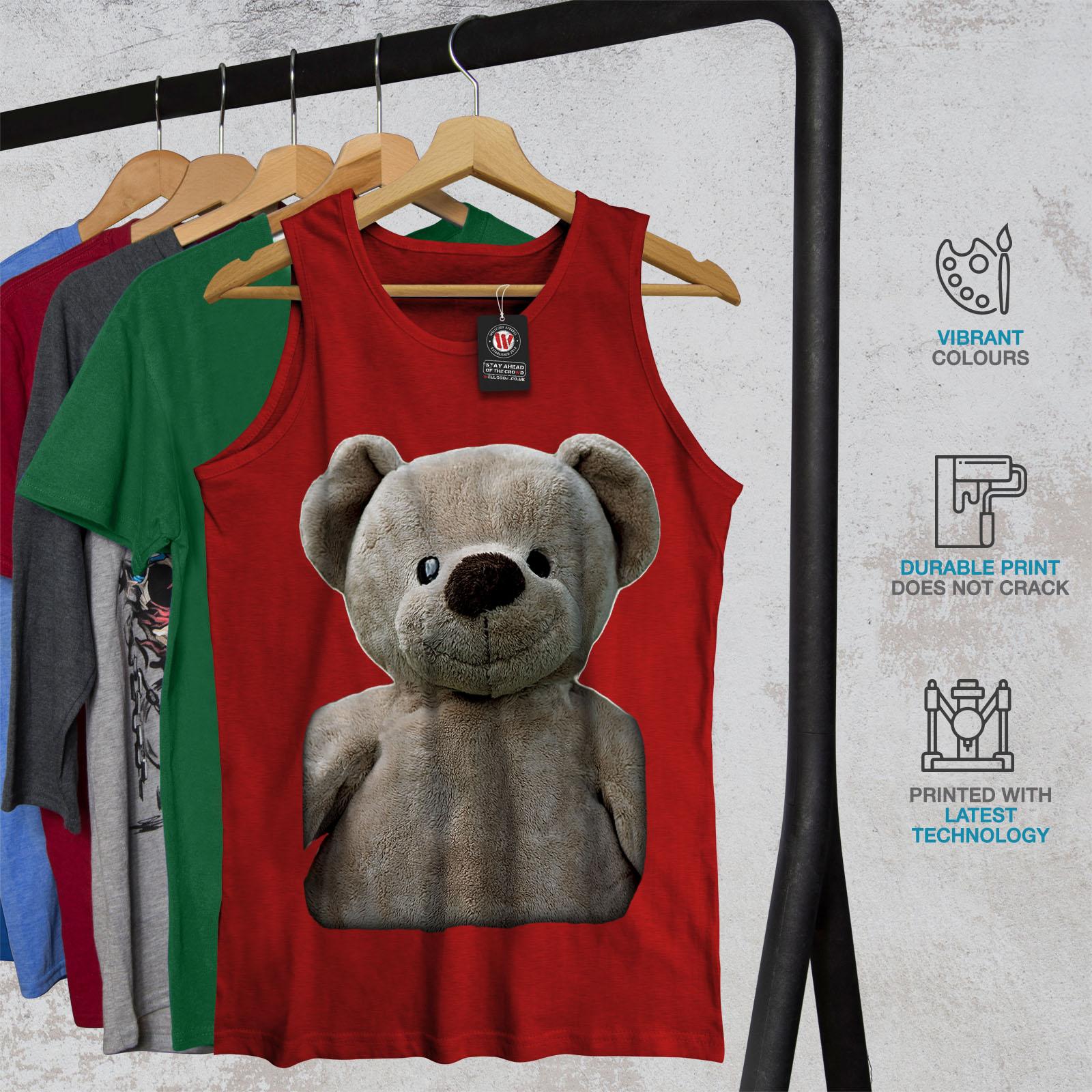 Teddy Bear Active Sports Shirt Wellcoda Cute Plush Mens Tank Top