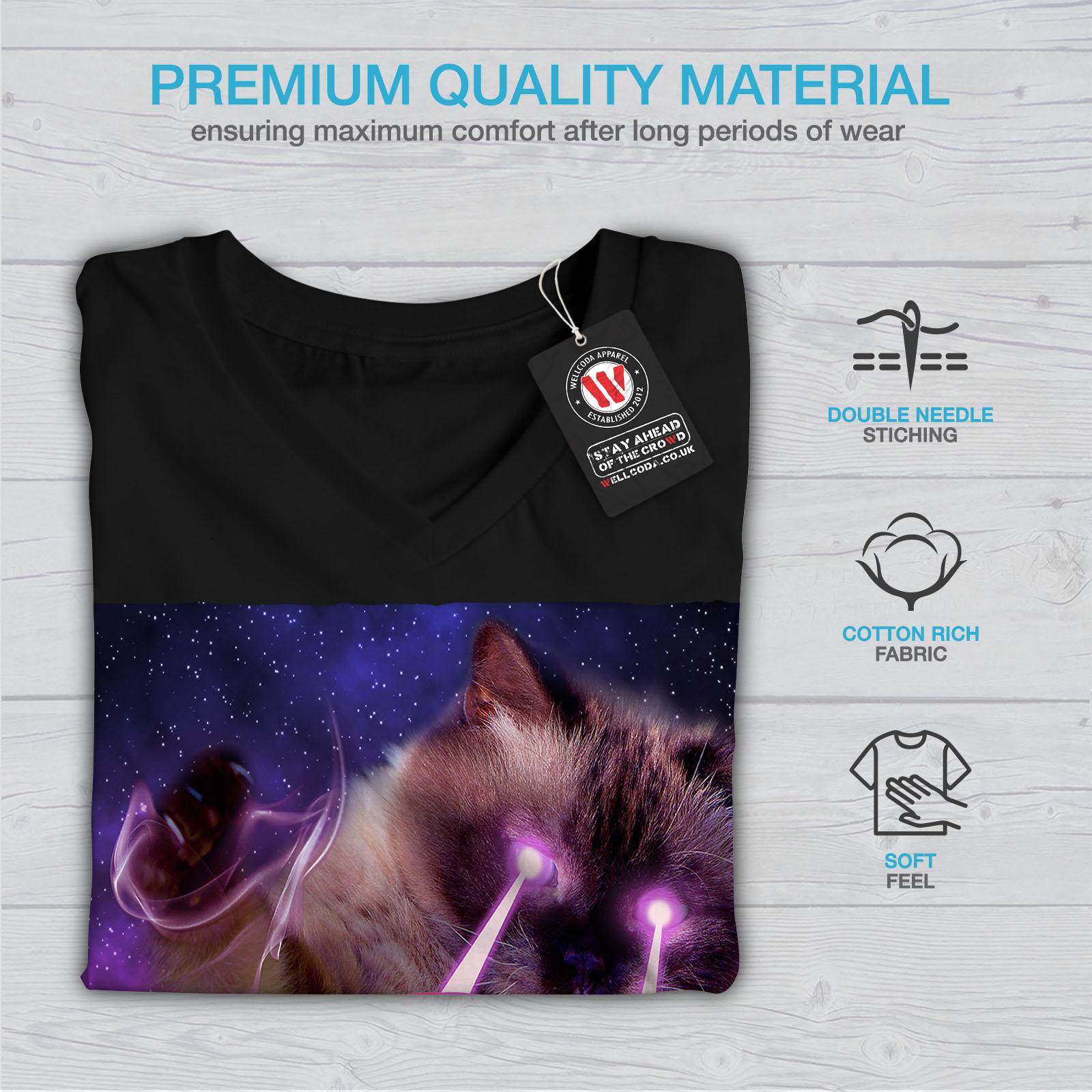 Ojo-de-gato-espacio-laser-de-hombre-cuello-en-V-wellcoda-Camiseta-Nuevo