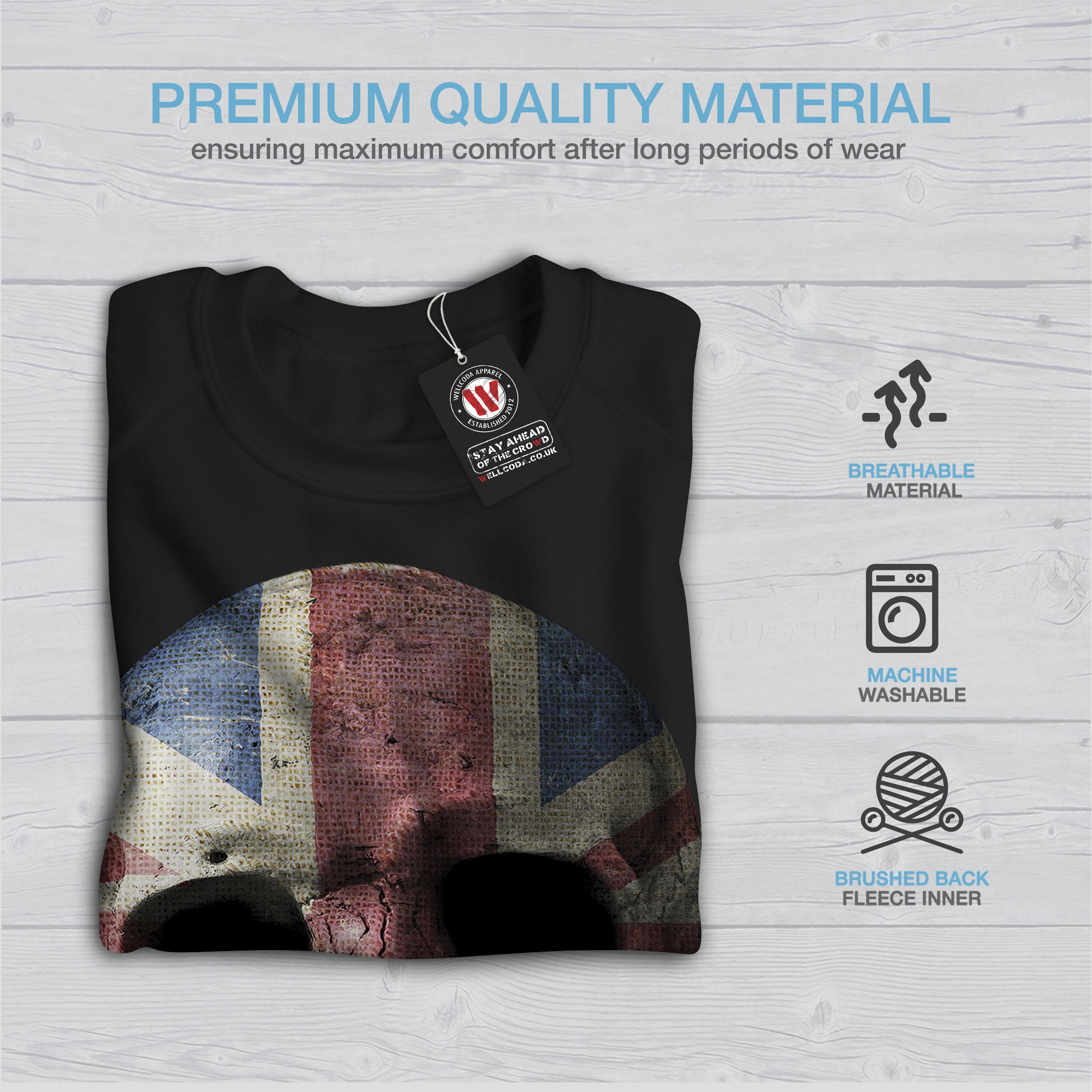 Wellcoda-British-Flag-Skull-Womens-Sweatshirt-Faded-Casual-Pullover-Jumper thumbnail 3