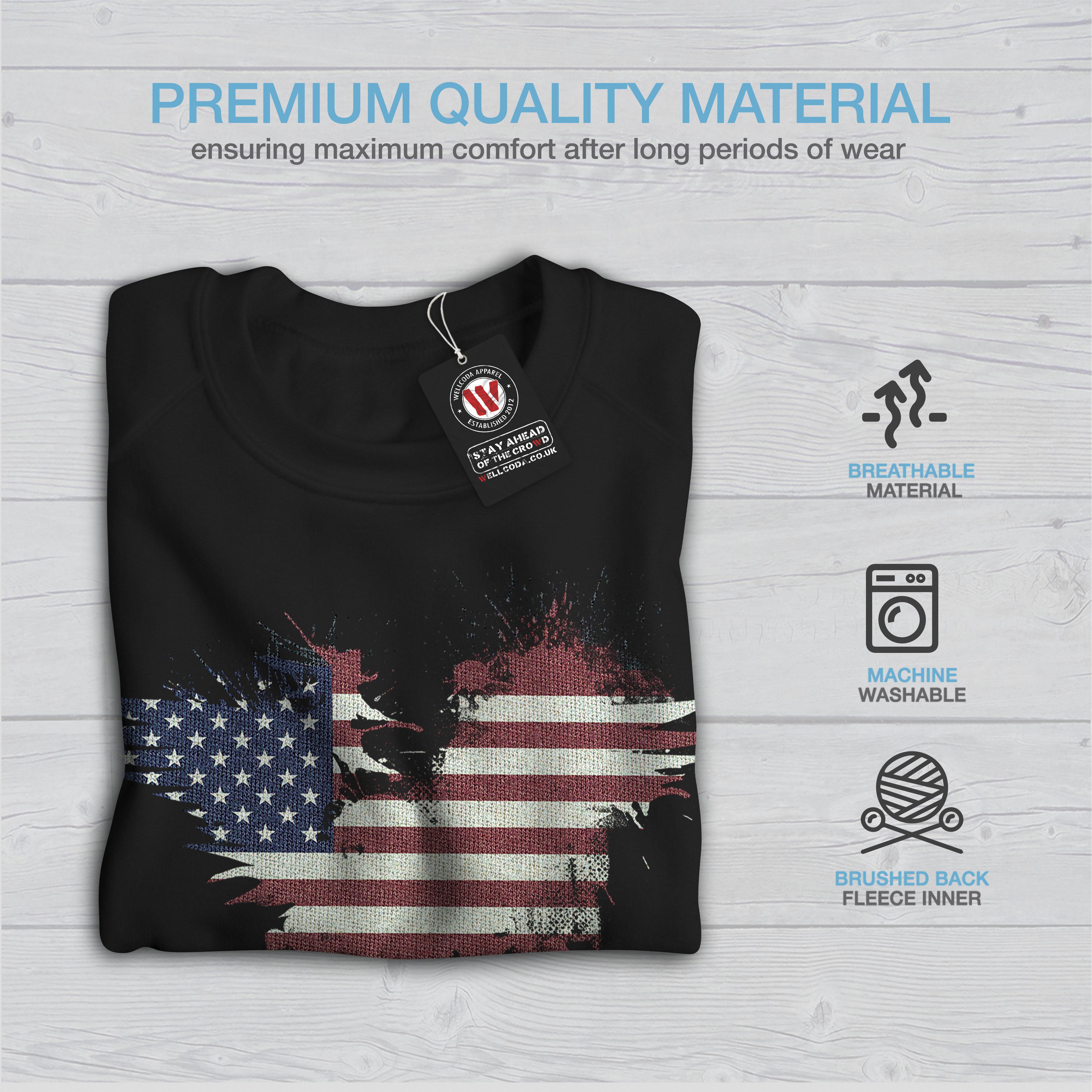 American Casual Pullover Jumper Wellcoda Flag Vintage Country Womens Sweatshirt