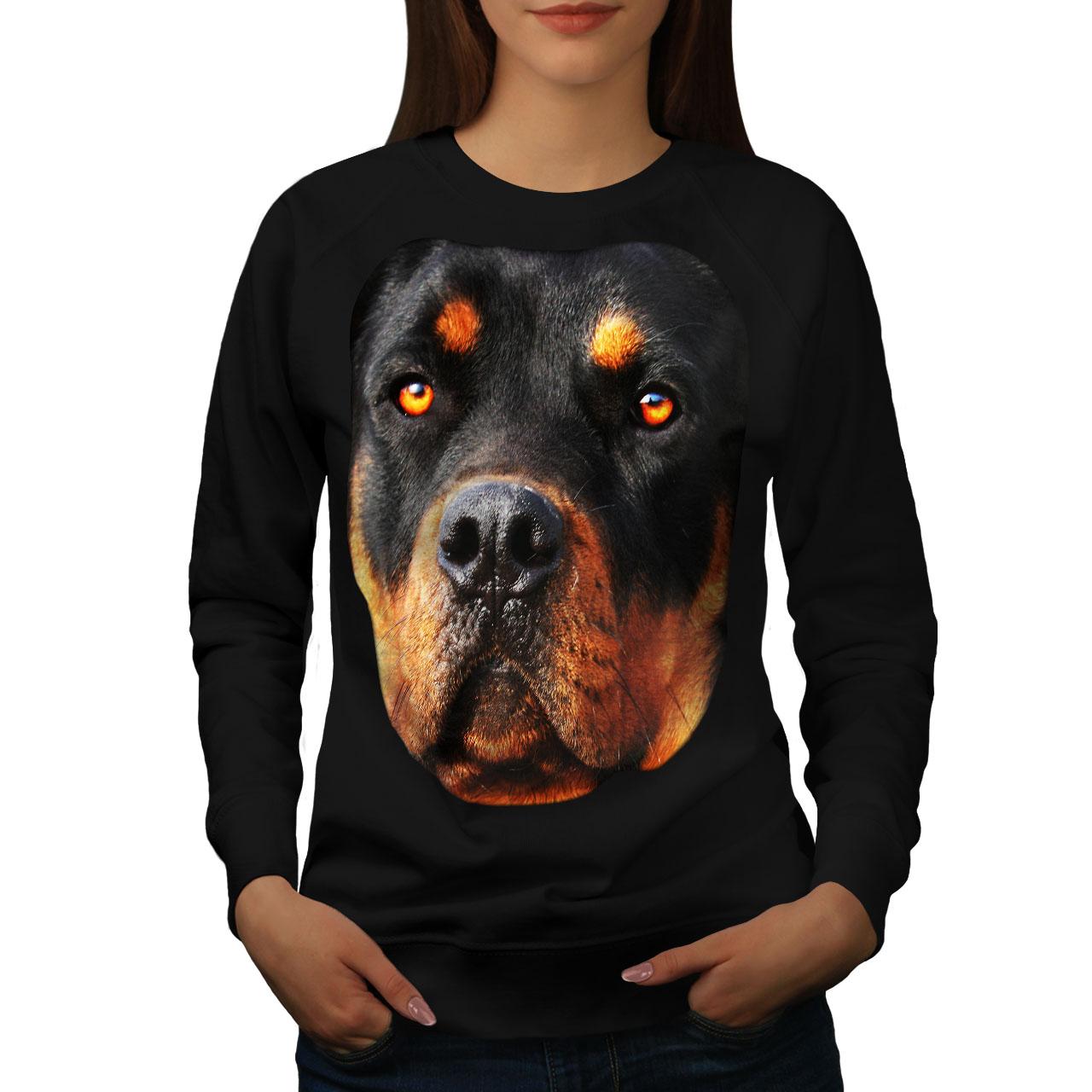 Wellcoda Rottweiler Cucciolo Animale Da Donna Felpa BELLISSIMO Casual Pullover Maglione