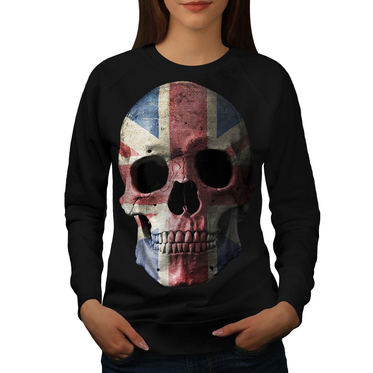 Wellcoda-British-Flag-Skull-Womens-Sweatshirt-Faded-Casual-Pullover-Jumper