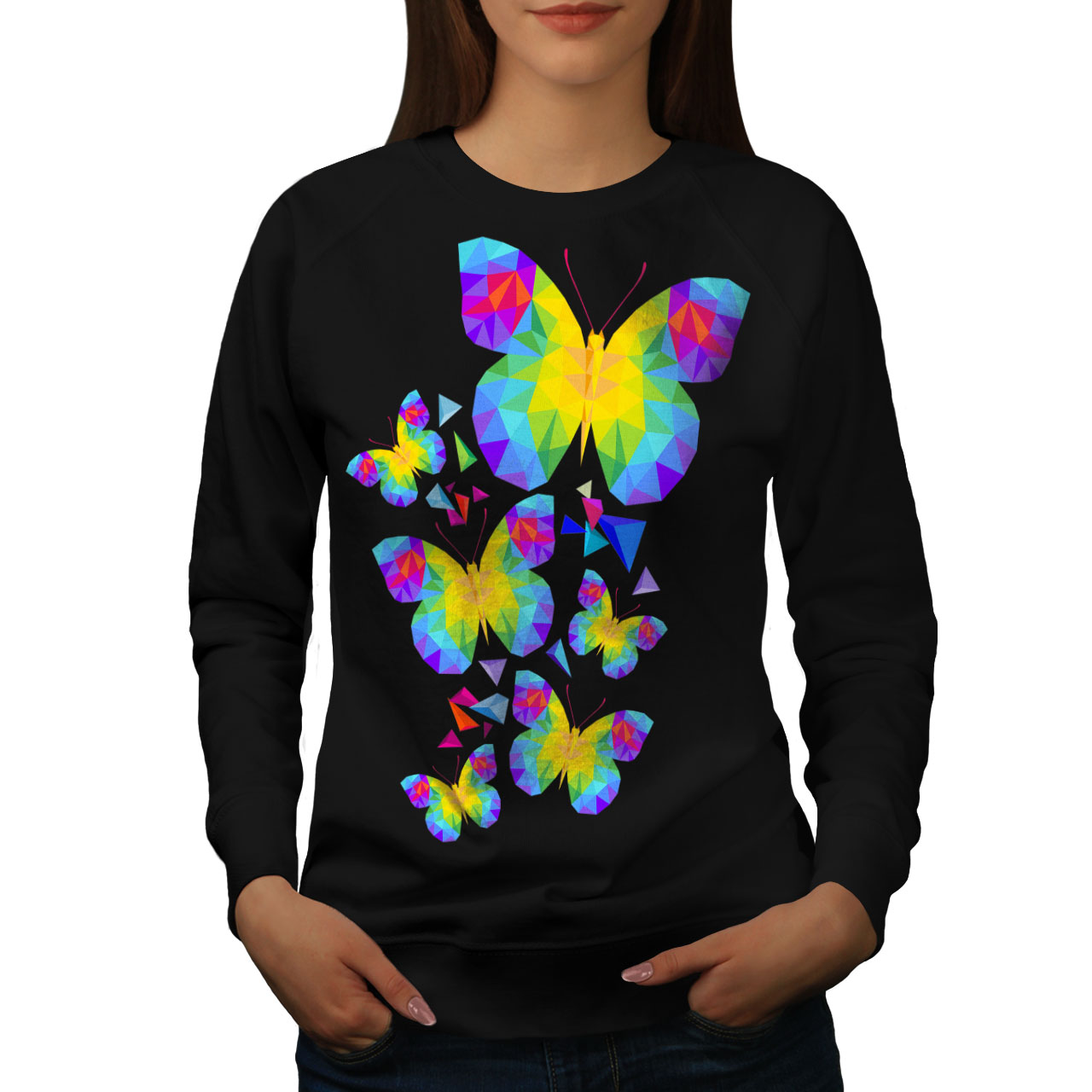 Wellcoda Polygonal Butterfly Womens Hoodie Spring Print Hooded Sweatshirt
