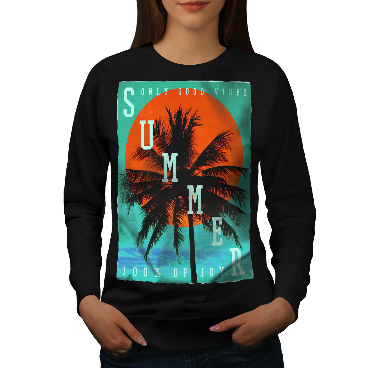 Begeistert Wellcoda Summer Good Vibes Womens Sweatshirt, Good Casual Pullover Jumper
