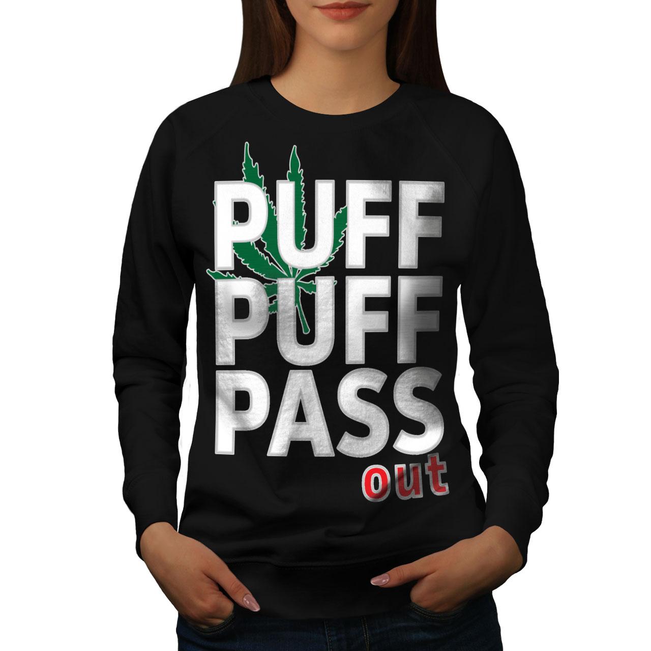 Offizielle Website Wellcoda Puff Weed Marijuana Womens Sweatshirt, Ganja Casual Pullover Jumper