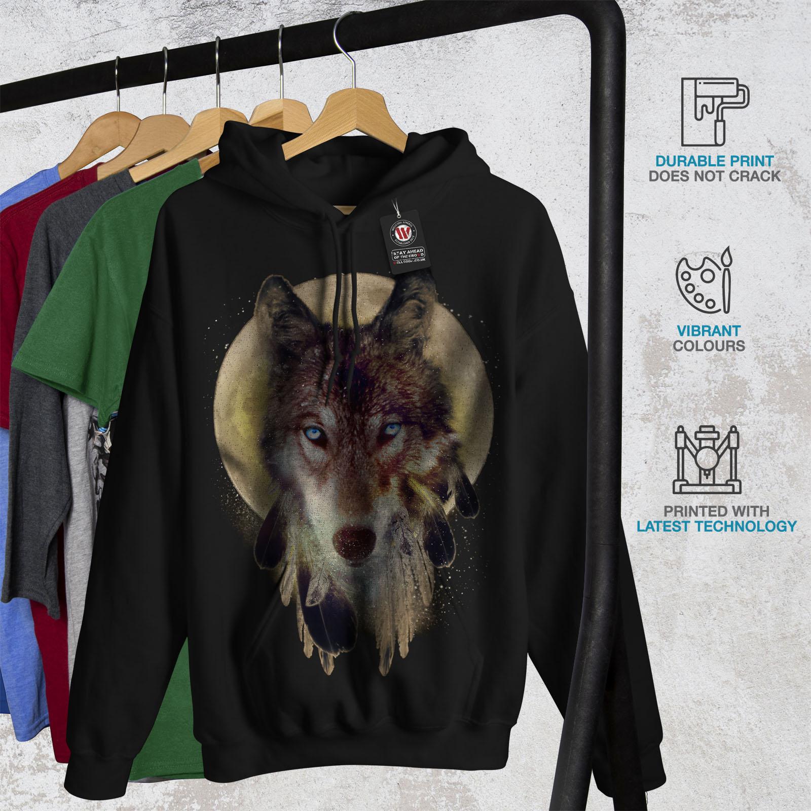Wellcoda-Wolf-Dream-Catcher-Womens-Hoodie-Wild-Casual-Hooded-Sweatshirt thumbnail 4
