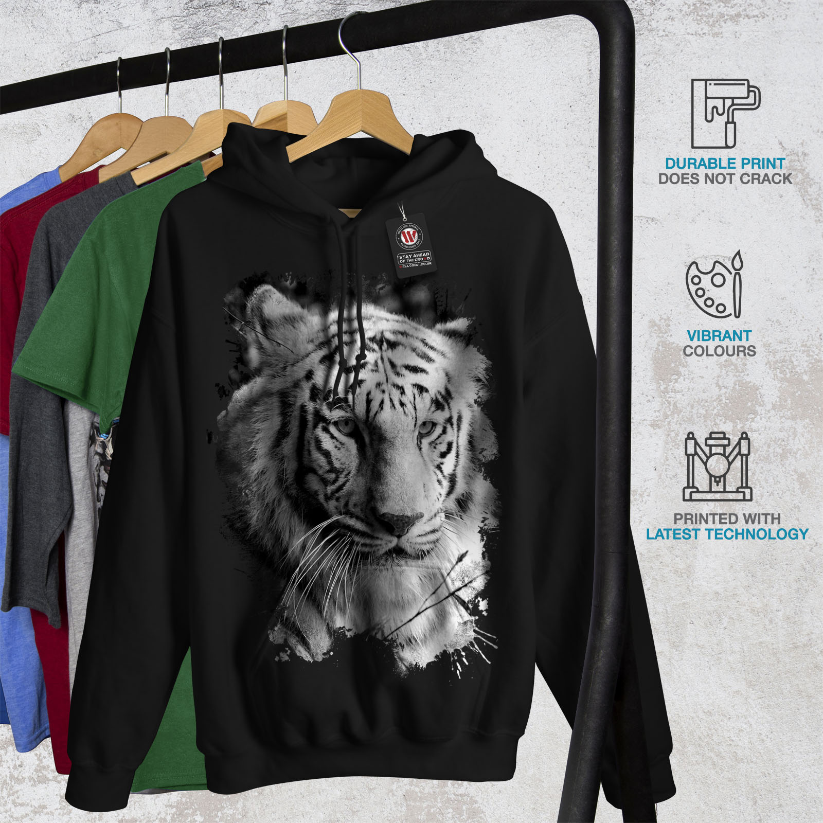 Wild Casual Hooded Sweatshirt Wellcoda White Tiger Head Womens Hoodie
