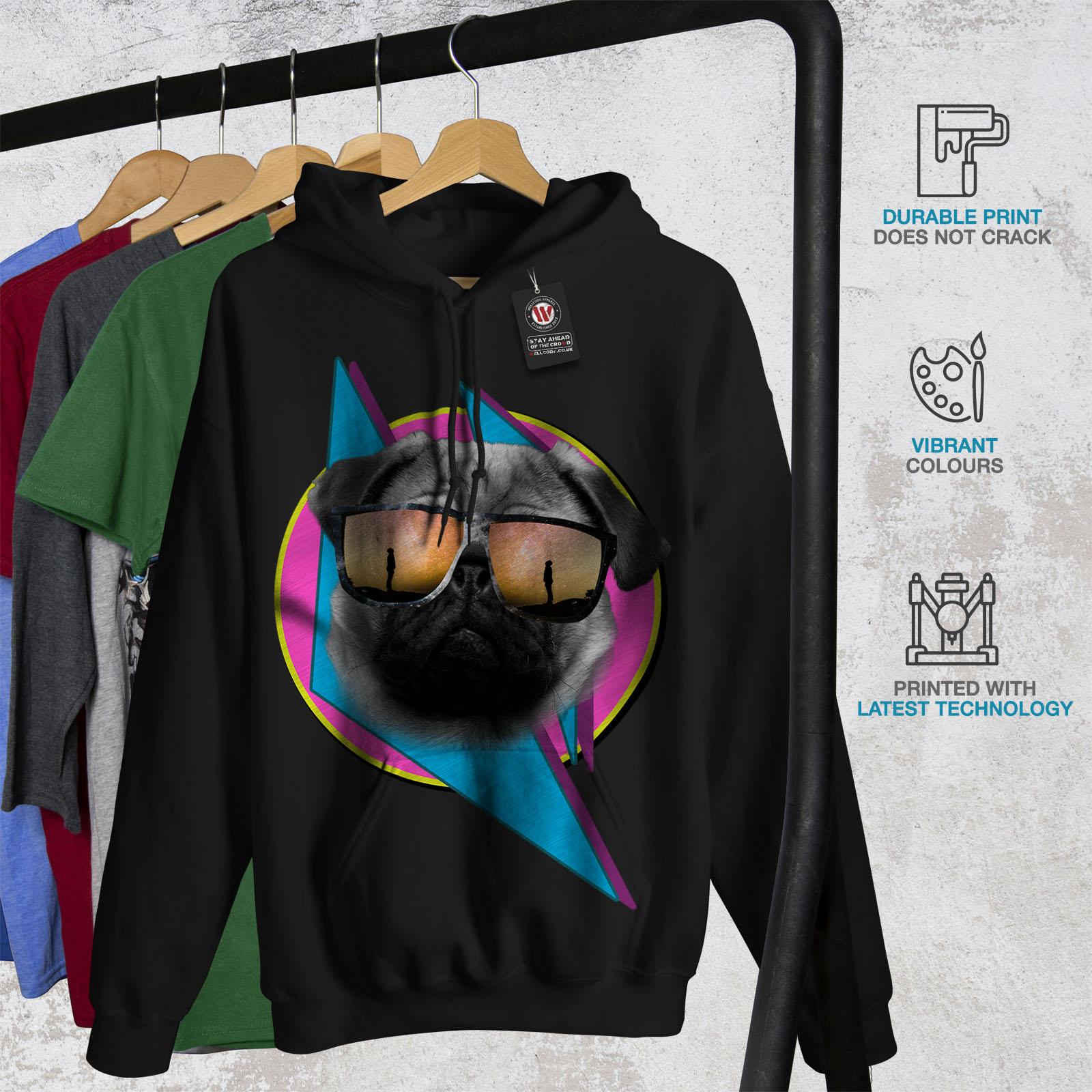 Wellcoda Cool Pug Glasses Cute Womens Hoodie Cool Casual Hooded Sweatshirt