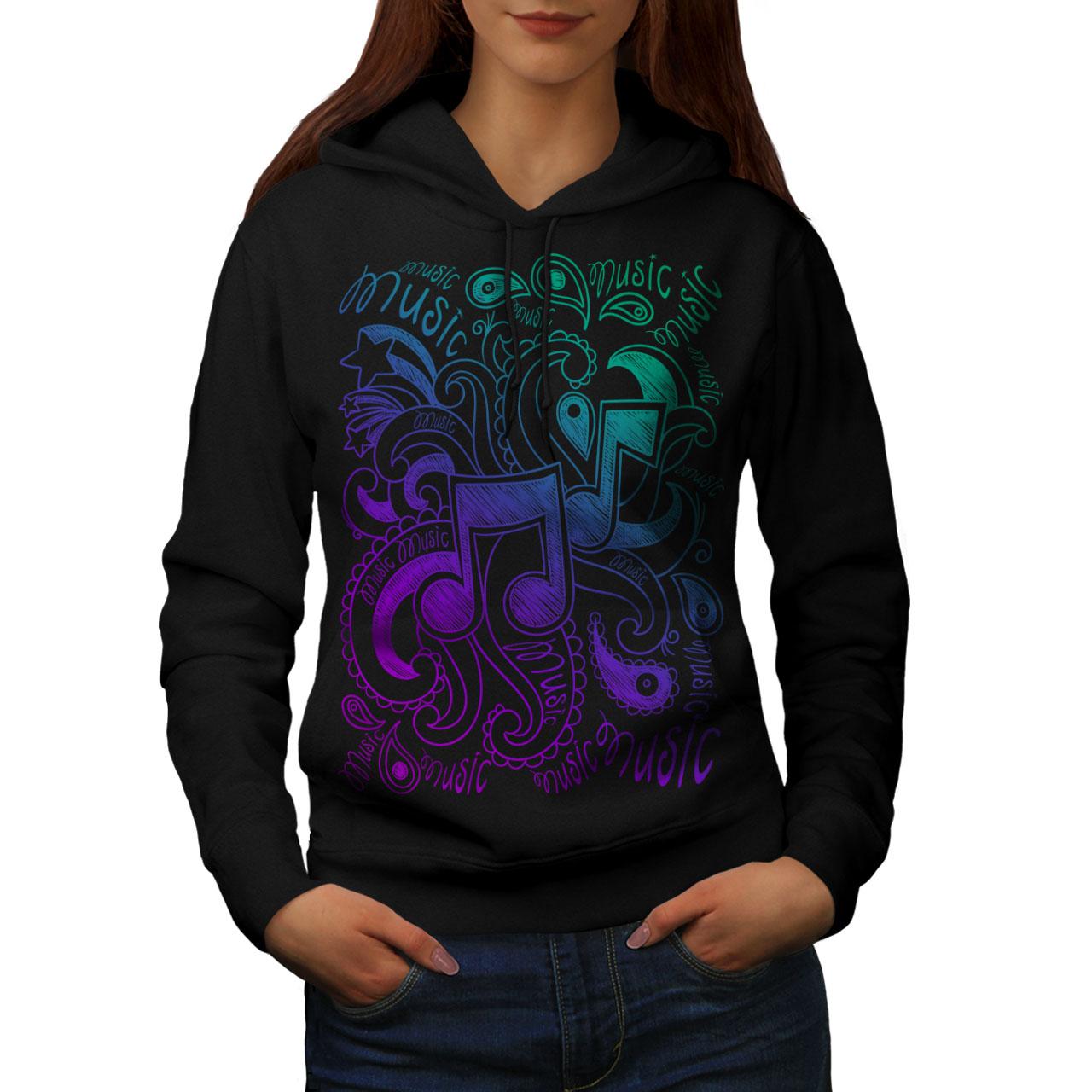 Sound Casual Hooded Sweatshirt Wellcoda Musical Ornament Womens Hoodie