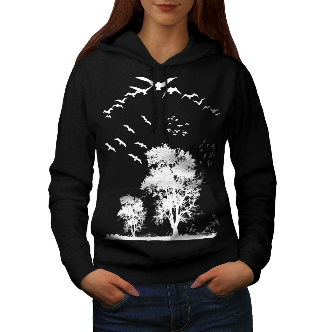 Nature Casual Hooded Sweatshirt Wellcoda Bird Freedom Fly Womens Hoodie