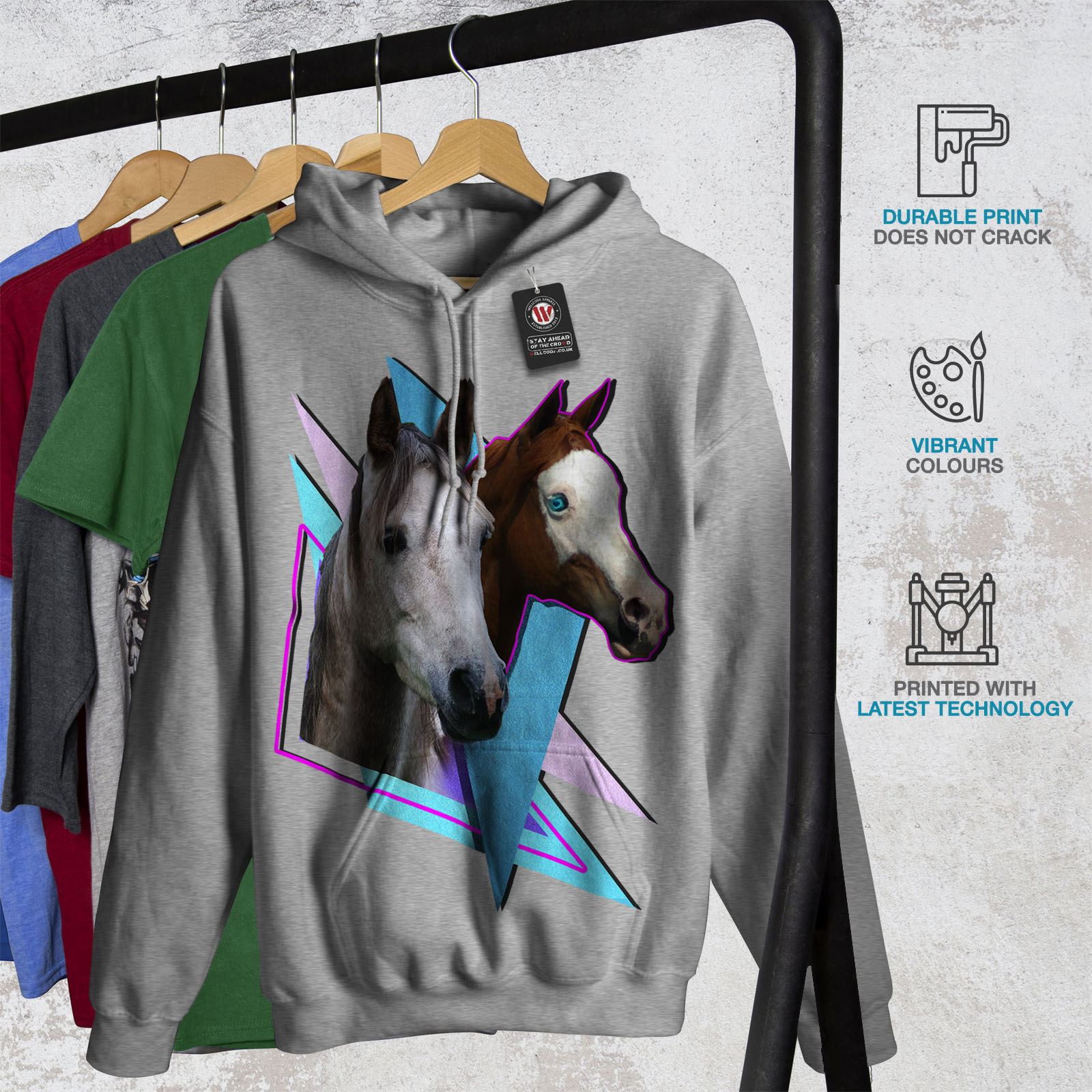 Wellcoda Cavallo Cool Stampa Animale Da Donna Felpa con cappuccio Zoo Casual Con Cappuccio Felpa
