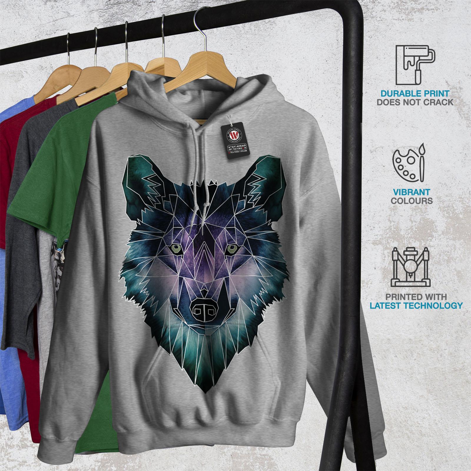 Wellcoda Psychodelic Wolf Womens Hoodie Crystal Casual Hooded Sweatshirt