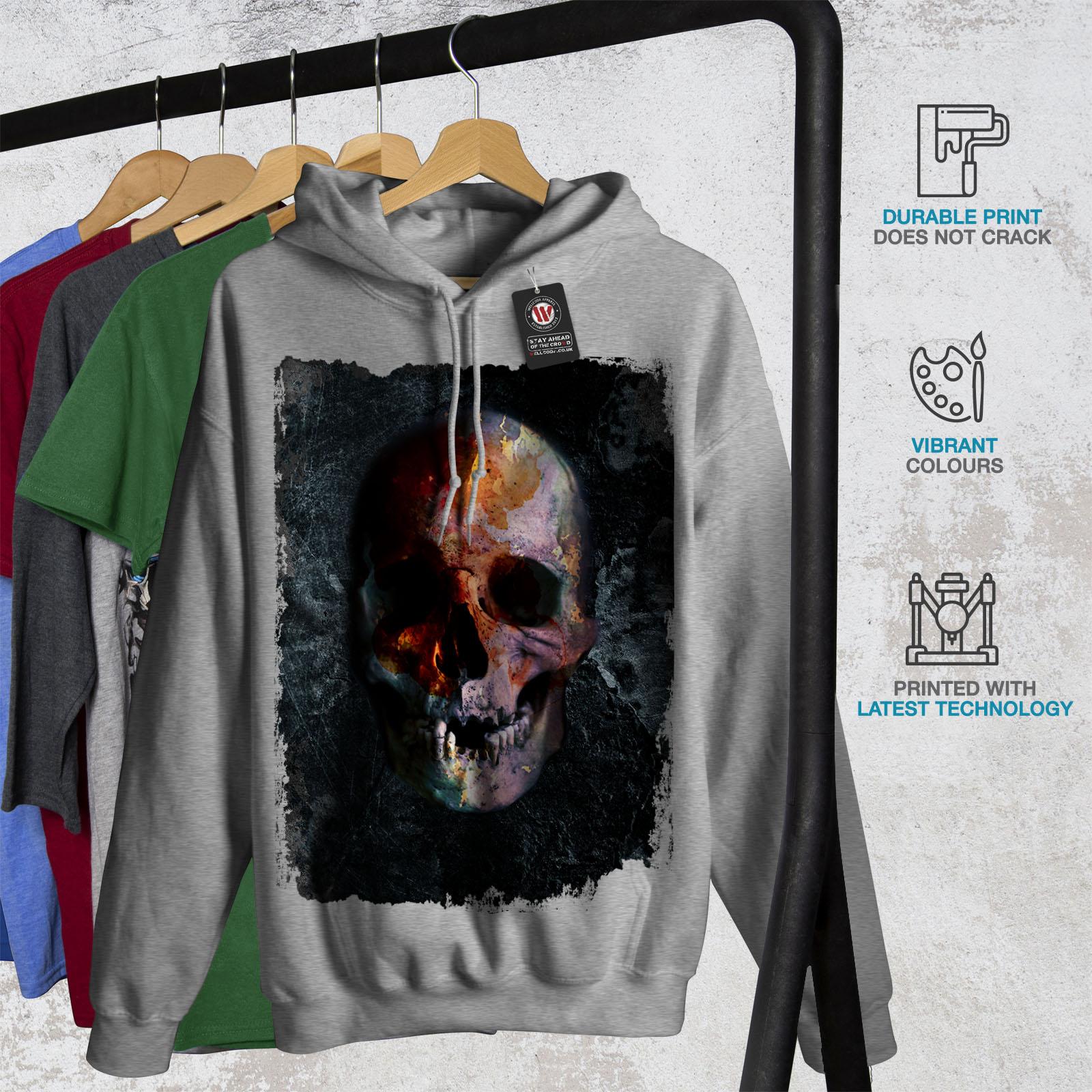 Devil Casual Hooded Sweatshirt Wellcoda Skull Head Evil Grave Womens Hoodie