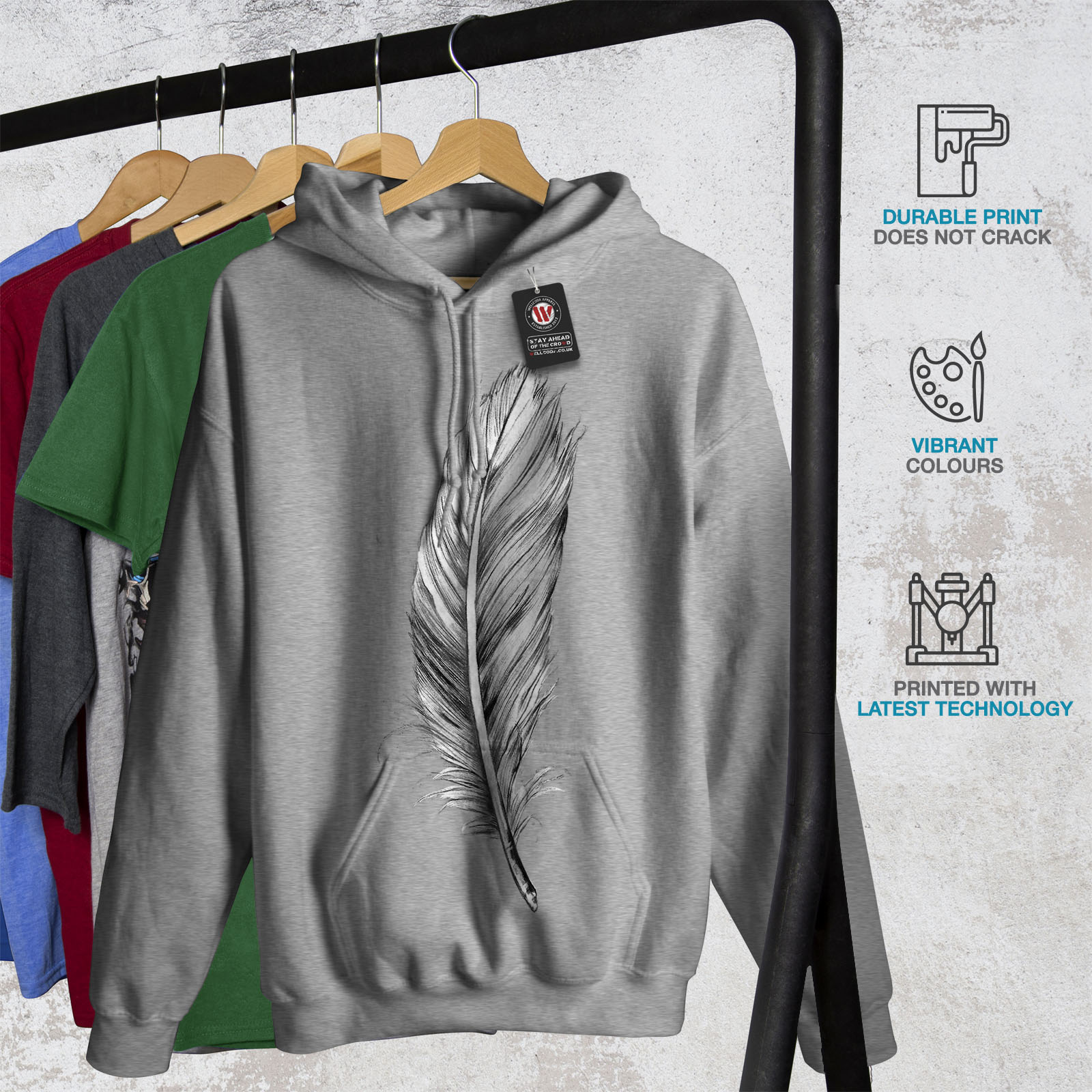 Painting Casual Hooded Sweatshirt Wellcoda Elegant Feather Womens Hoodie