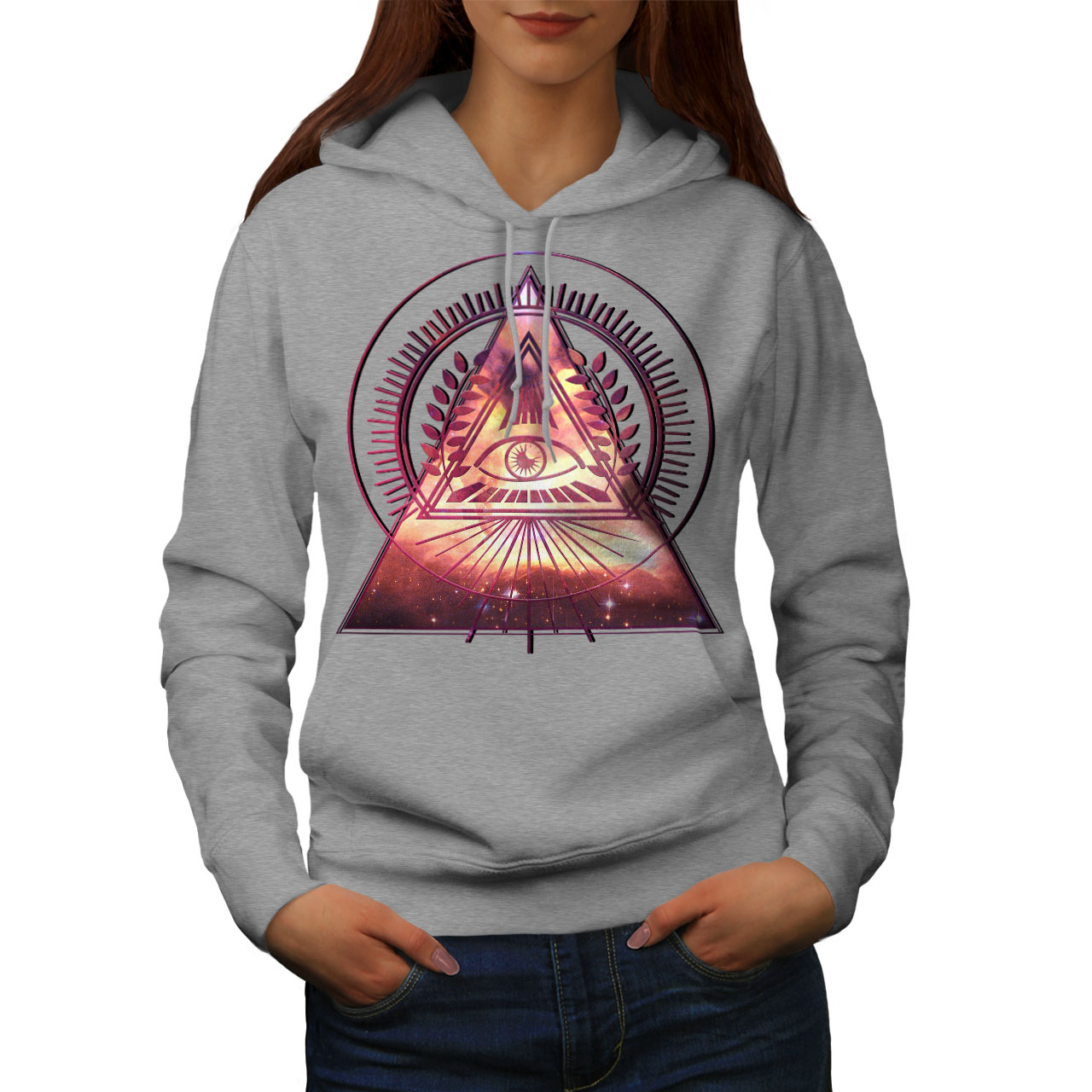 Wellcoda Triangle Galaxy Womens Hoodie Mystic Casual Hooded Sweatshirt
