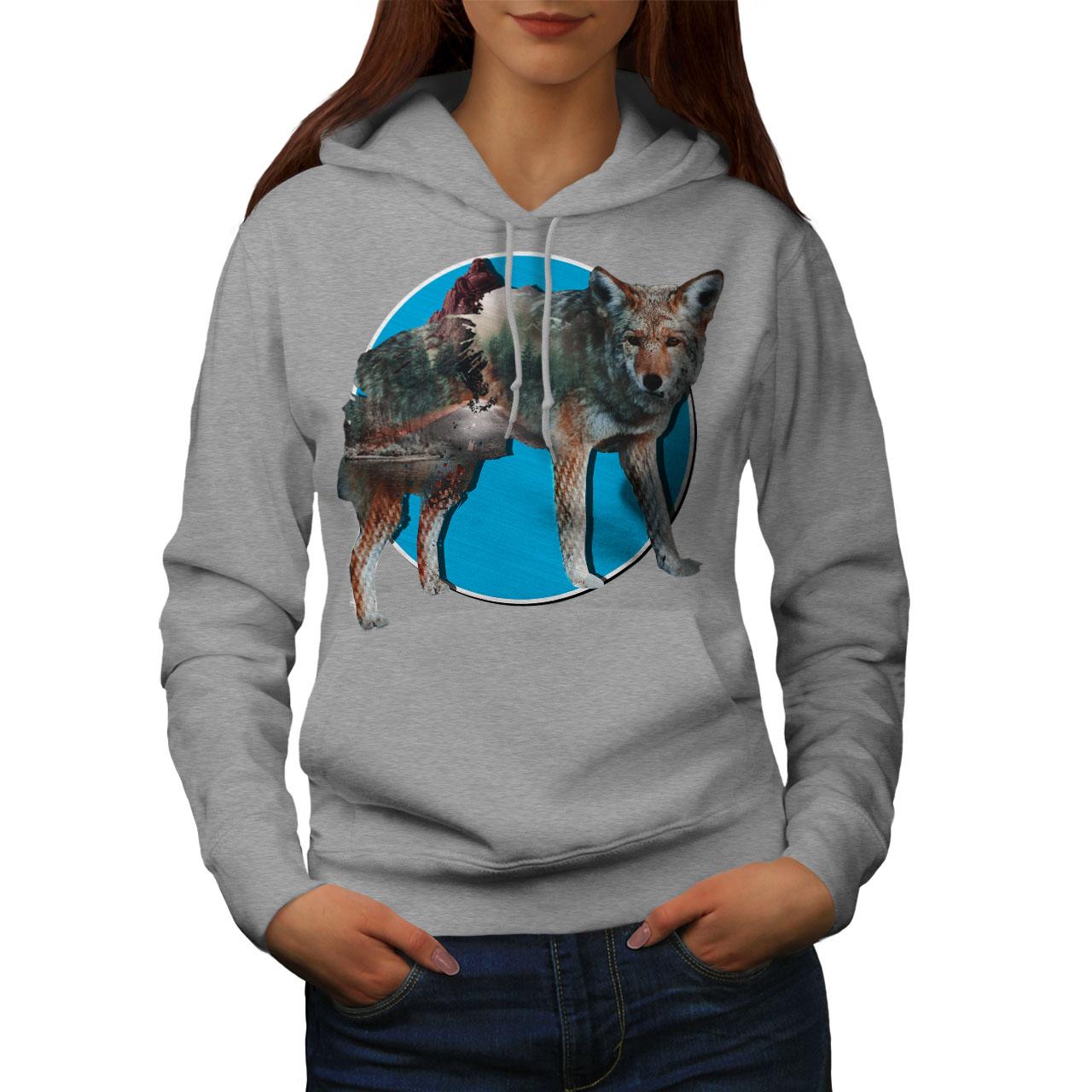GüNstiger Verkauf Wellcoda Wolf Beast Nature Animal Womens Hoodie, Fox Casual Hooded Sweatshirt
