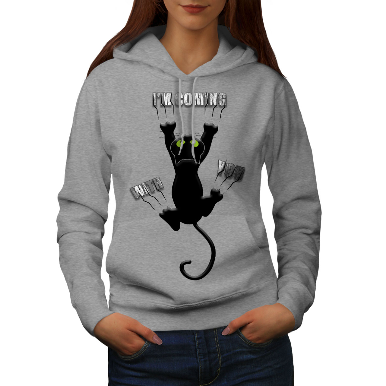 Fun Casual Hooded Sweatshirt Wellcoda Attached Cute Funny Cat Womens Hoodie