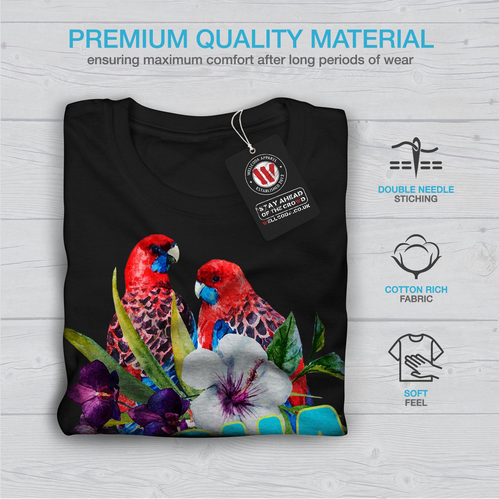 Wellcoda-Hawaiian-Aloha-Bloom-Womens-T-shirt-Bird-Casual-Design-Printed-Tee thumbnail 7