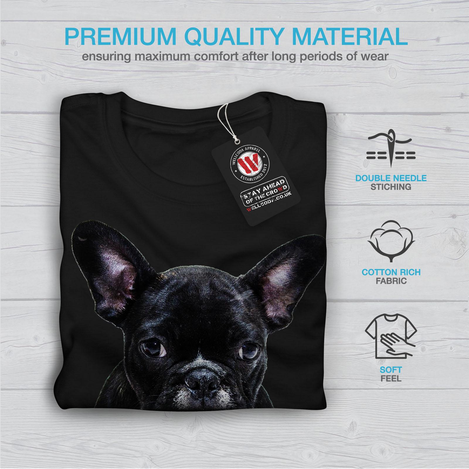 Wellcoda-Fancy-French-Bulldog-T-shirt-Femme-Noir-Casual-Design-Imprime-Tee miniature 7