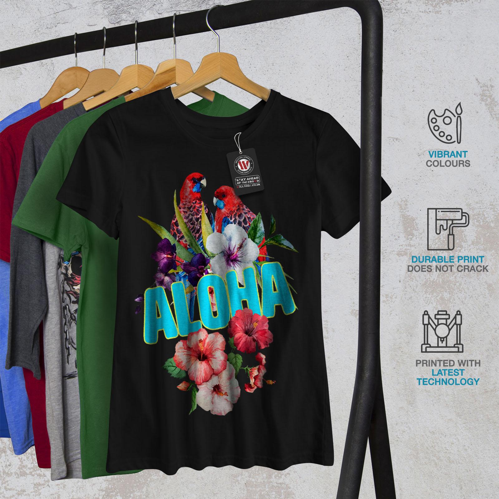 Wellcoda-Hawaiian-Aloha-Bloom-Womens-T-shirt-Bird-Casual-Design-Printed-Tee thumbnail 6