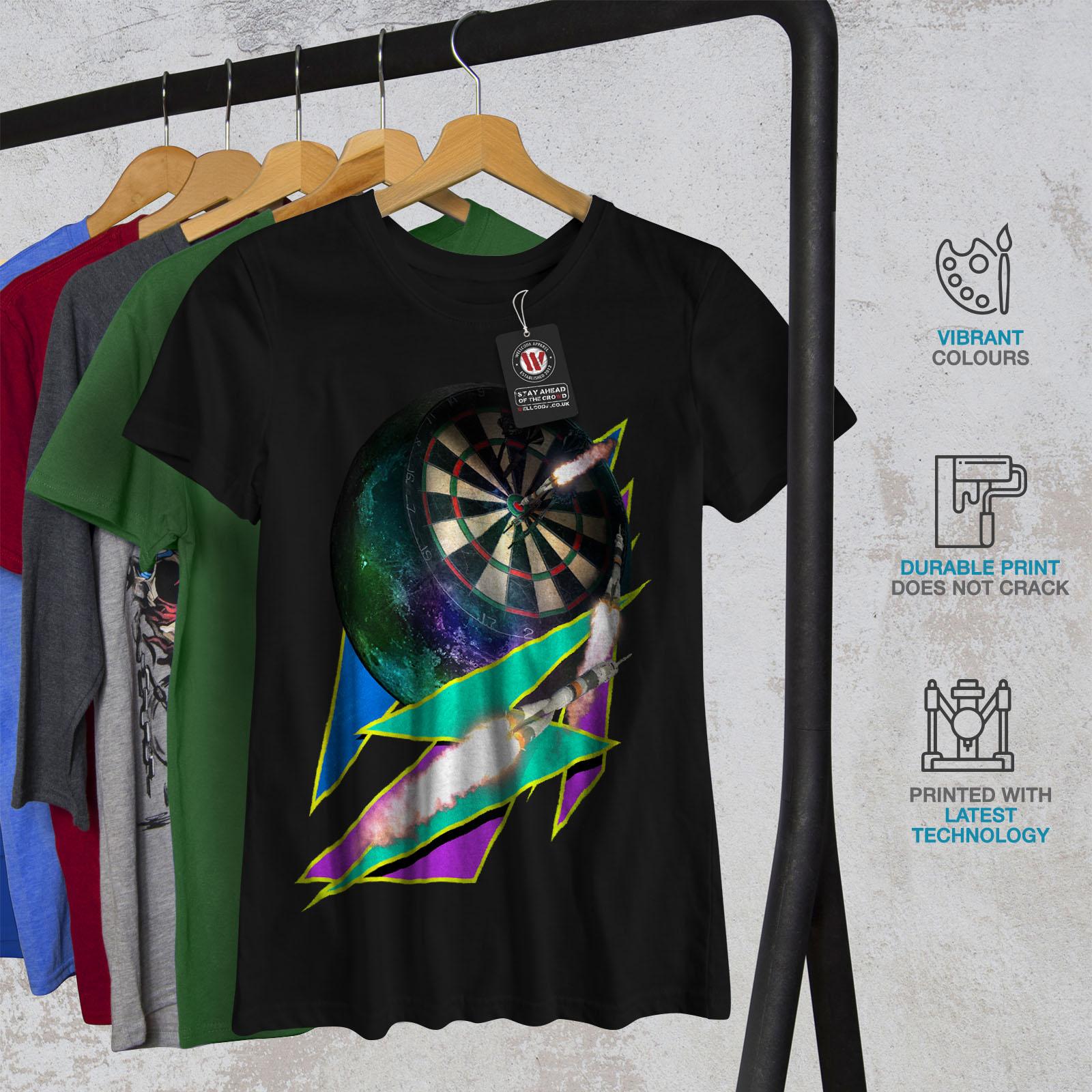 miniature 6 - Wellcoda Dart Board Gaming Womens T-shirt, Achieve Casual Design Printed Tee