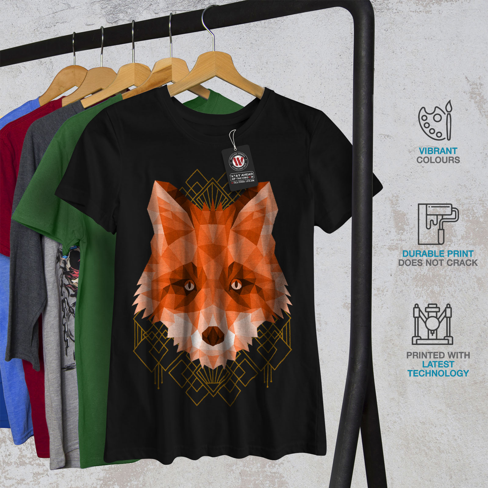 Wellcoda-polygonale-Fire-Fox-T-shirt-femme-animal-Casual-Design-Imprime-Tee miniature 6