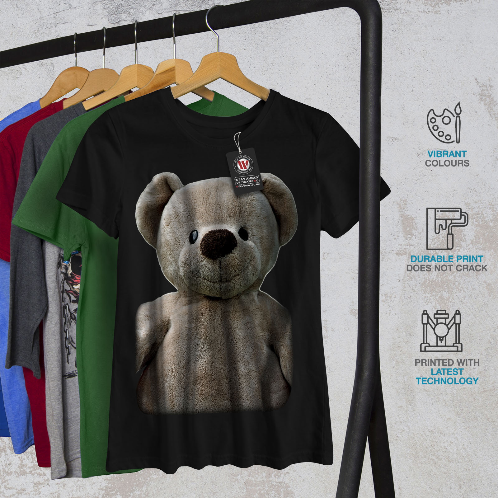 miniature 6 - Wellcoda Cute Plush Womens T-shirt, Teddy Bear Casual Design Printed Tee