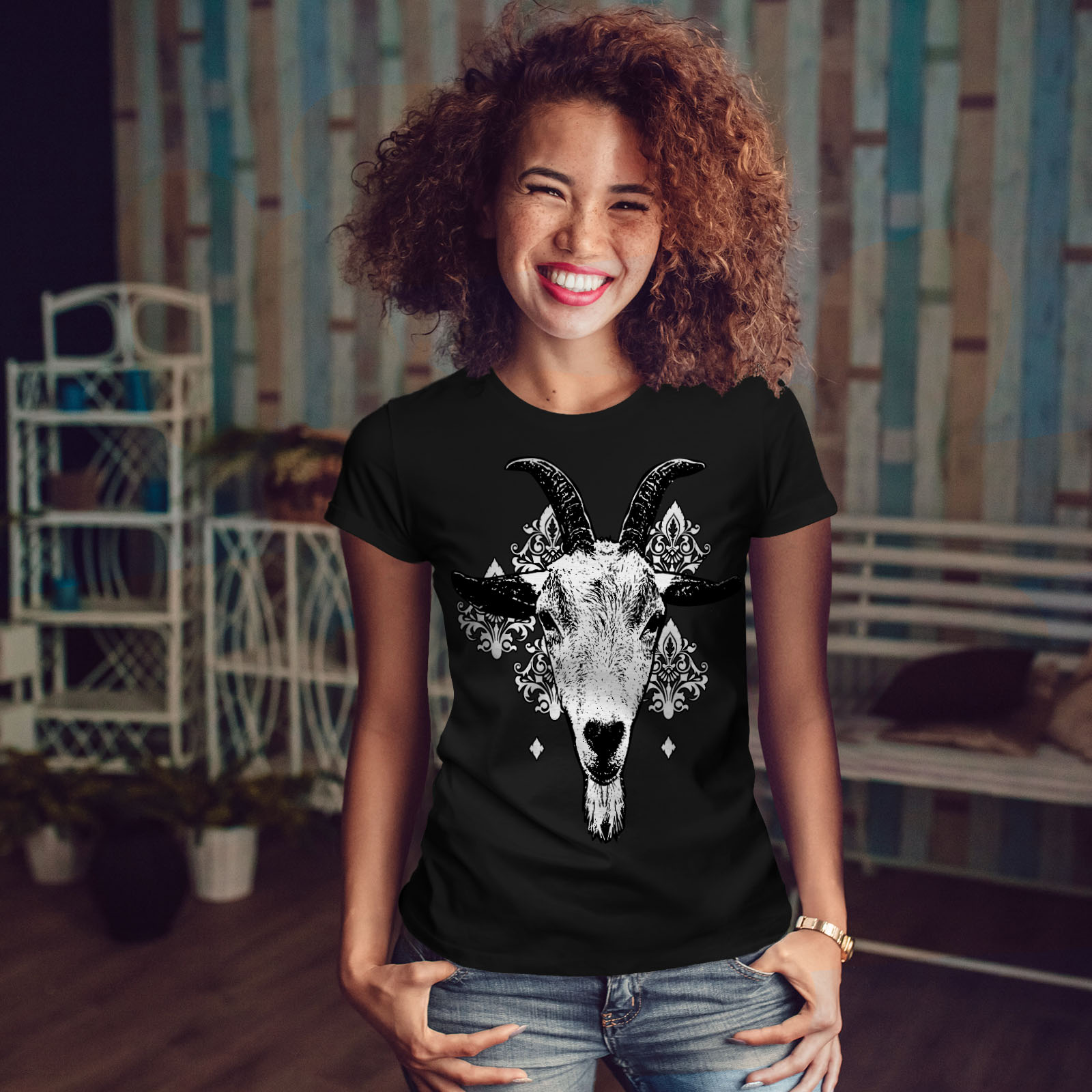 Goat Metal Creepy Animal Women T-shirt NEWWellcoda
