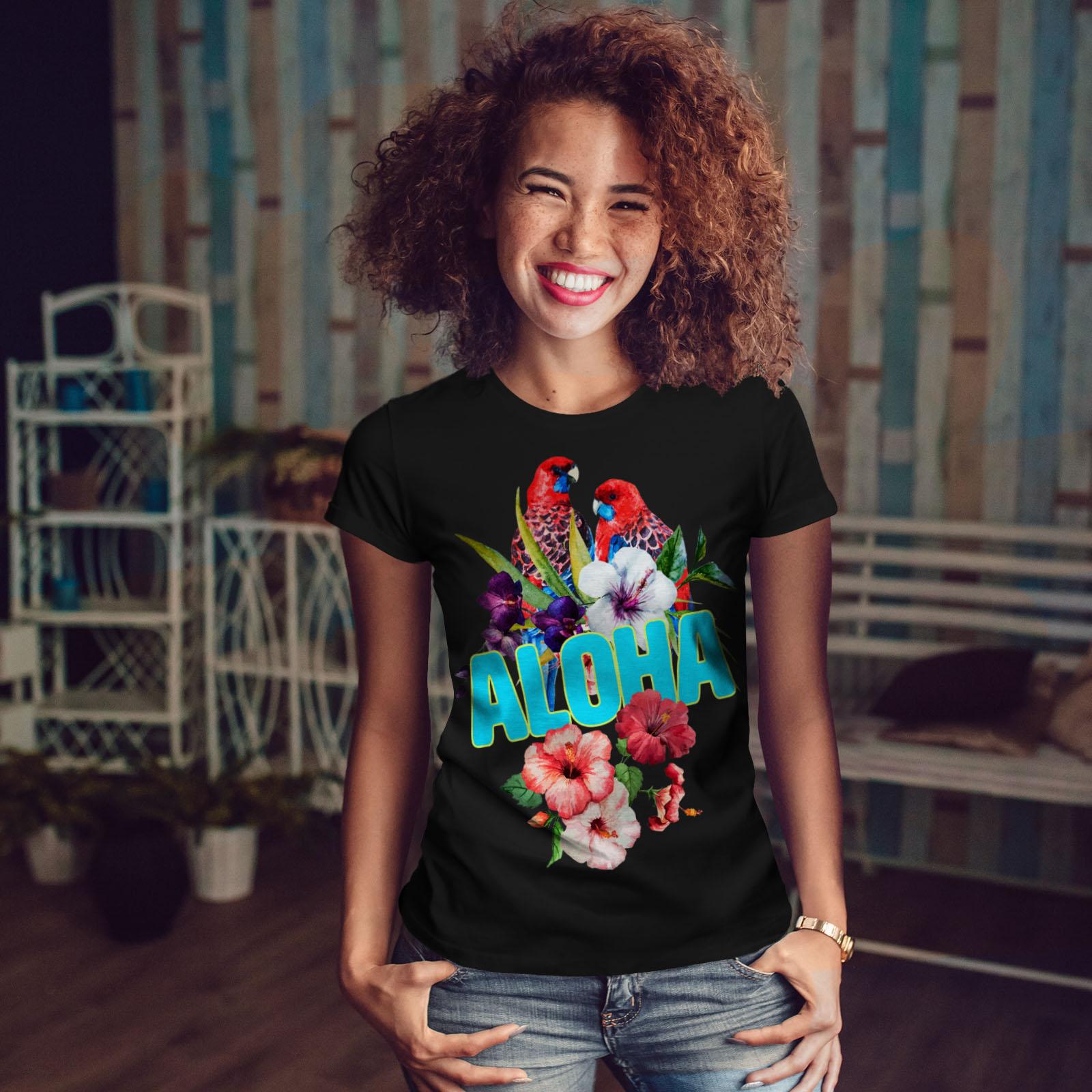 Wellcoda-Hawaiian-Aloha-Bloom-Womens-T-shirt-Bird-Casual-Design-Printed-Tee thumbnail 4