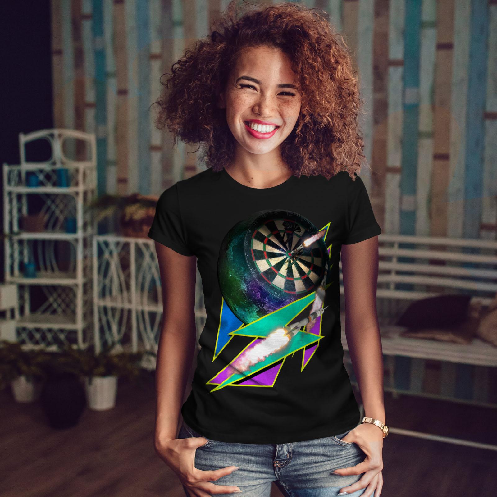 miniature 4 - Wellcoda Dart Board Gaming Womens T-shirt, Achieve Casual Design Printed Tee