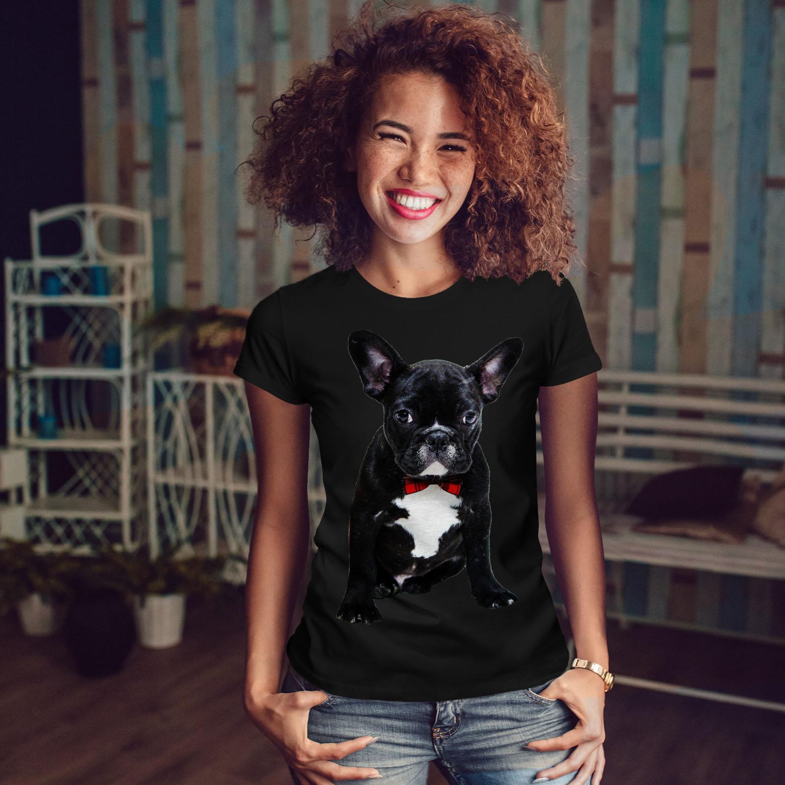 Wellcoda-Fancy-French-Bulldog-T-shirt-Femme-Noir-Casual-Design-Imprime-Tee miniature 4