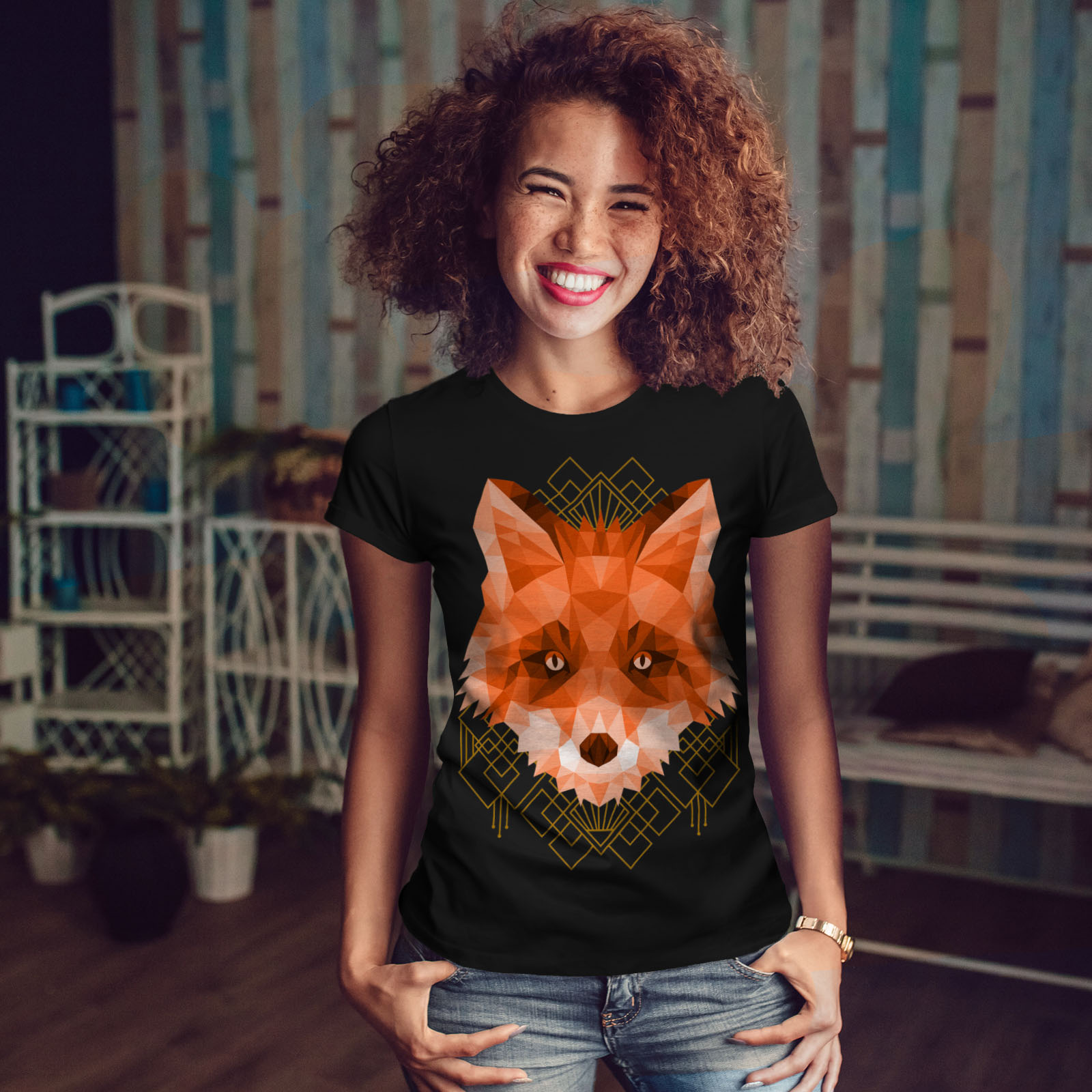Wellcoda-polygonale-Fire-Fox-T-shirt-femme-animal-Casual-Design-Imprime-Tee miniature 4