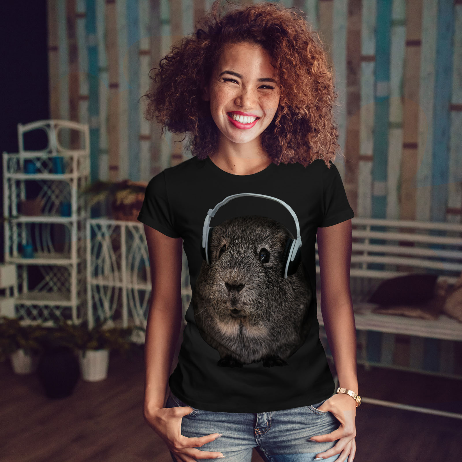 Wellcoda-Guinea-Maiale-BEAT-Divertente-T-shirt-da-donna-design-casual-Animale-Stampato-Tee miniatura 4
