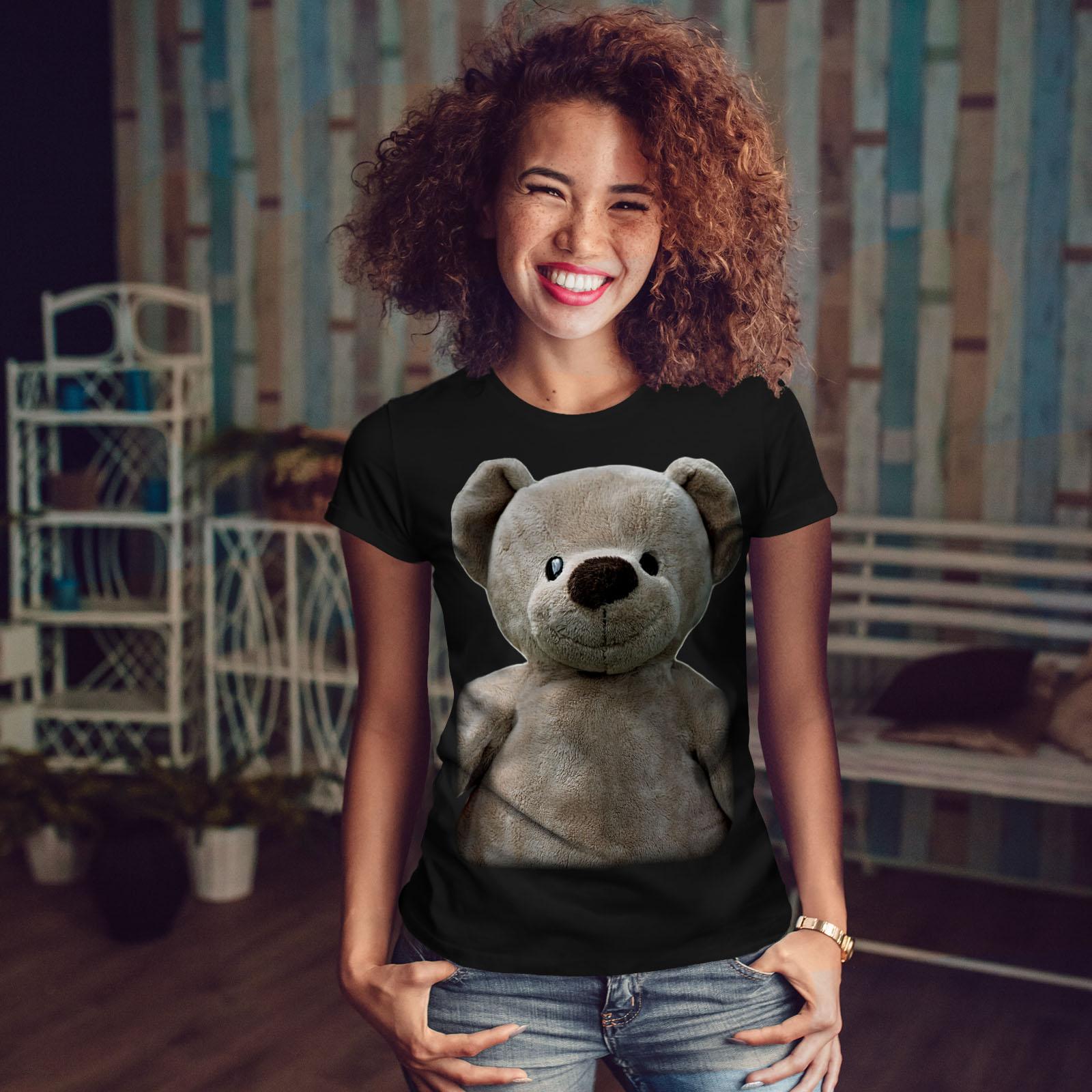miniature 4 - Wellcoda Cute Plush Womens T-shirt, Teddy Bear Casual Design Printed Tee