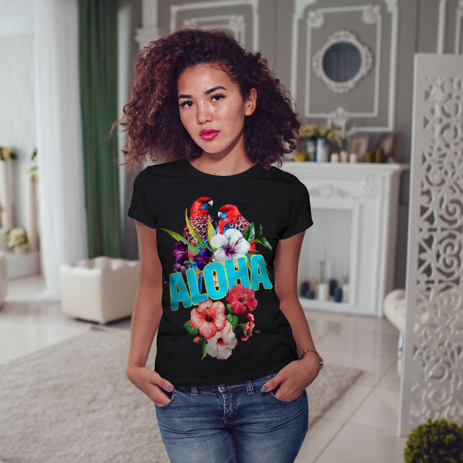 Wellcoda-Hawaiian-Aloha-Bloom-Womens-T-shirt-Bird-Casual-Design-Printed-Tee thumbnail 5