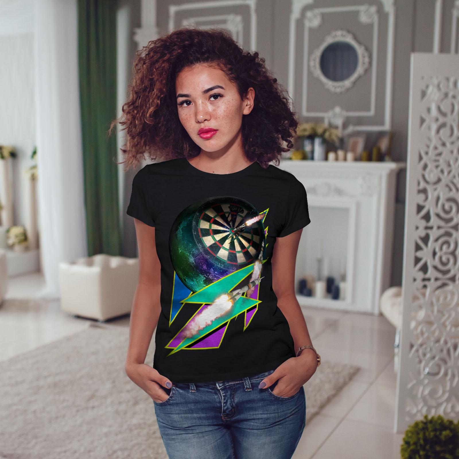 miniature 5 - Wellcoda Dart Board Gaming Womens T-shirt, Achieve Casual Design Printed Tee