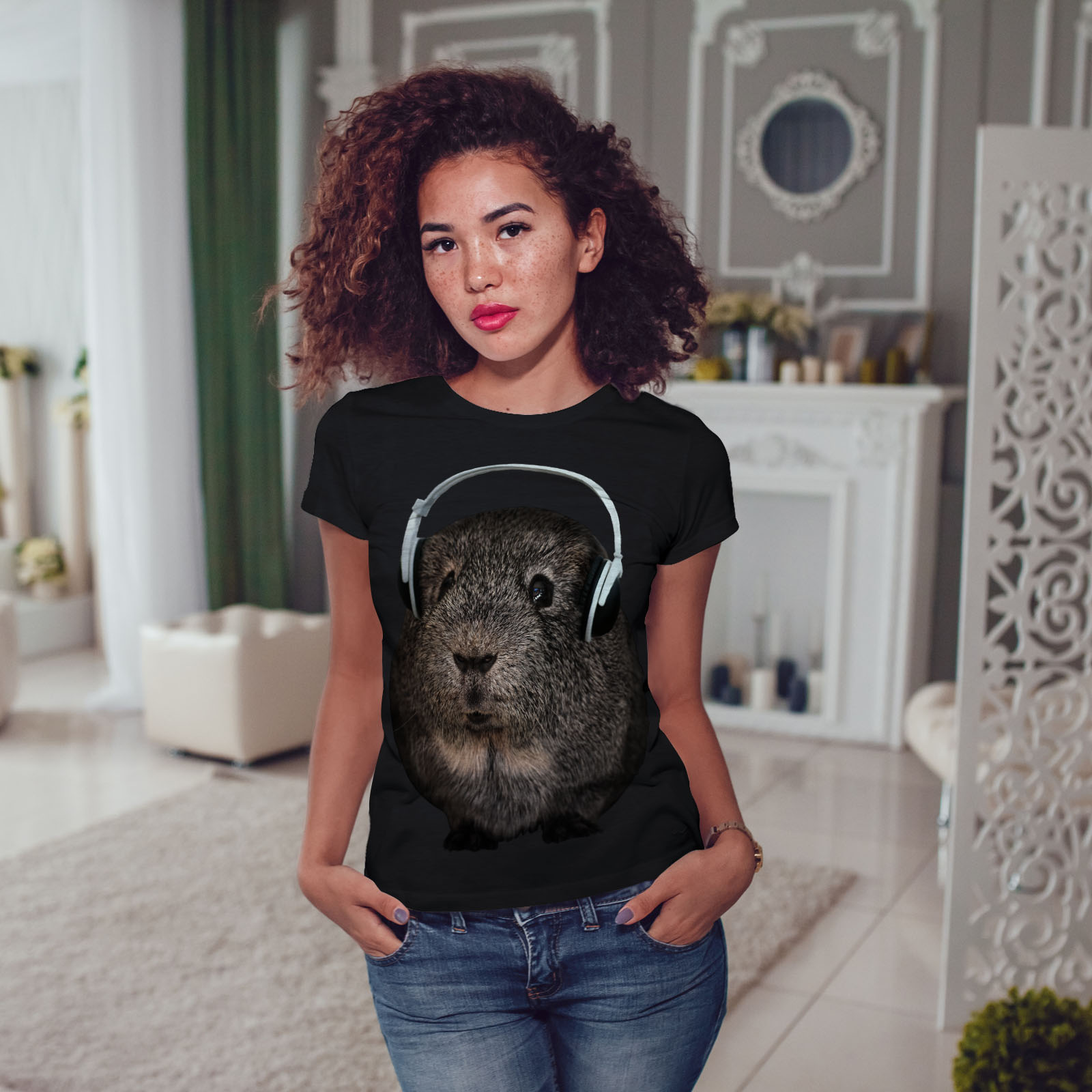 Wellcoda-Guinea-Maiale-BEAT-Divertente-T-shirt-da-donna-design-casual-Animale-Stampato-Tee miniatura 5