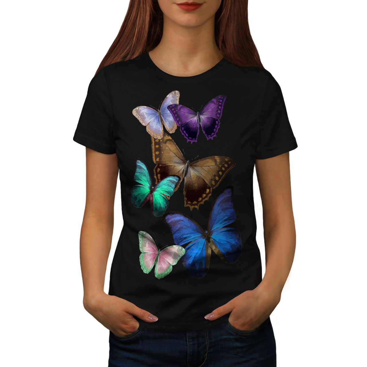 Wellcoda Butterfly Colorful Womens Long Sleeve T-shirt Nature Casual Design