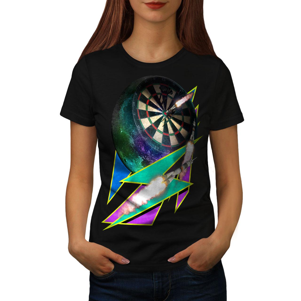 miniature 3 - Wellcoda Dart Board Gaming Womens T-shirt, Achieve Casual Design Printed Tee