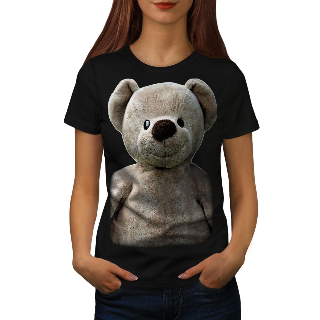 miniature 3 - Wellcoda Cute Plush Womens T-shirt, Teddy Bear Casual Design Printed Tee