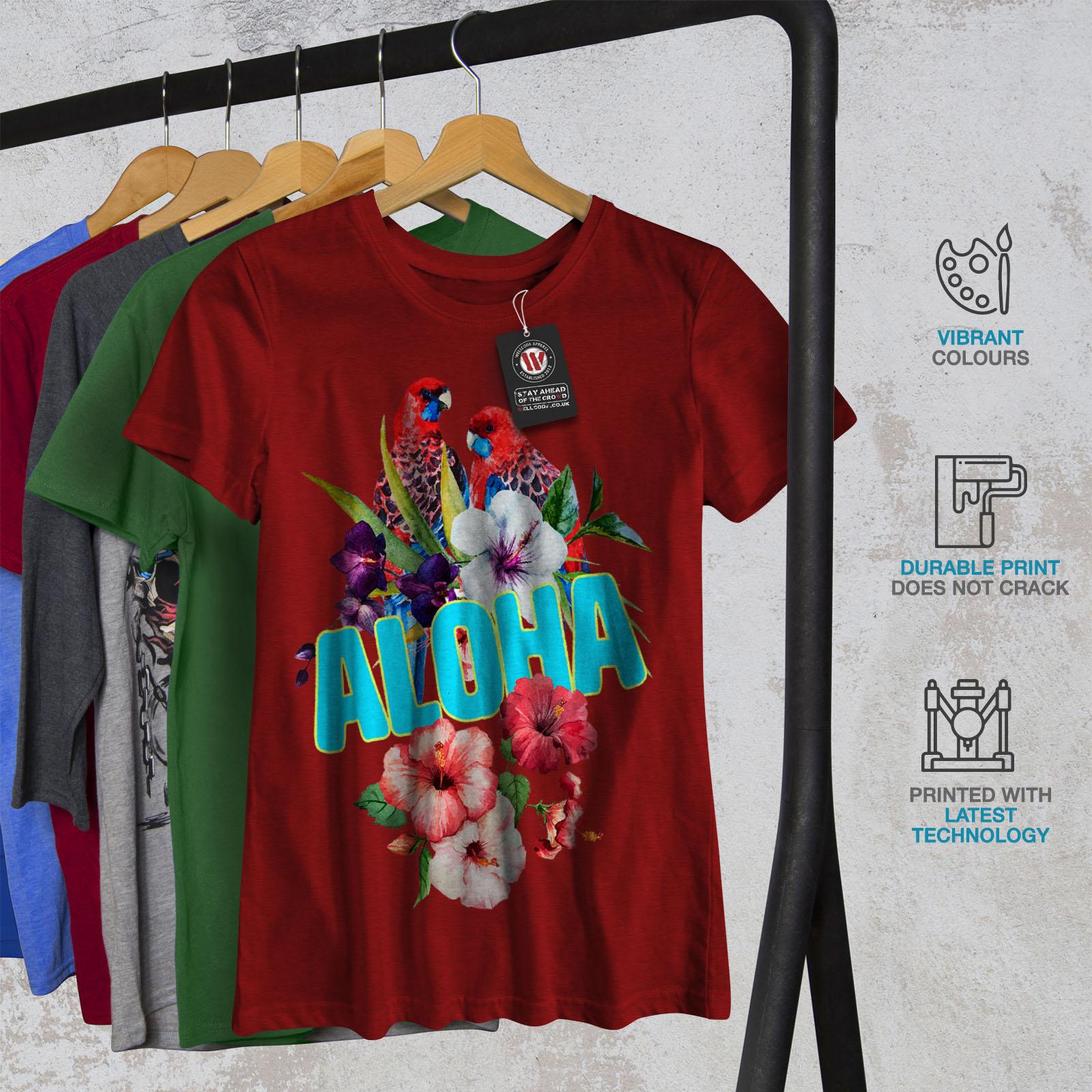 Wellcoda-Hawaiian-Aloha-Bloom-Womens-T-shirt-Bird-Casual-Design-Printed-Tee thumbnail 12