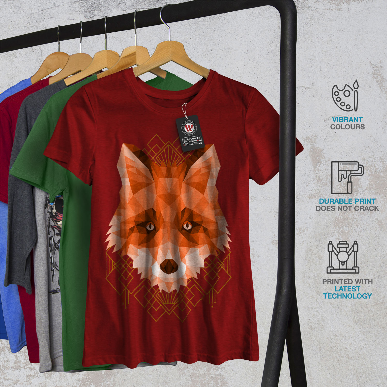 Wellcoda-polygonale-Fire-Fox-T-shirt-femme-animal-Casual-Design-Imprime-Tee miniature 12