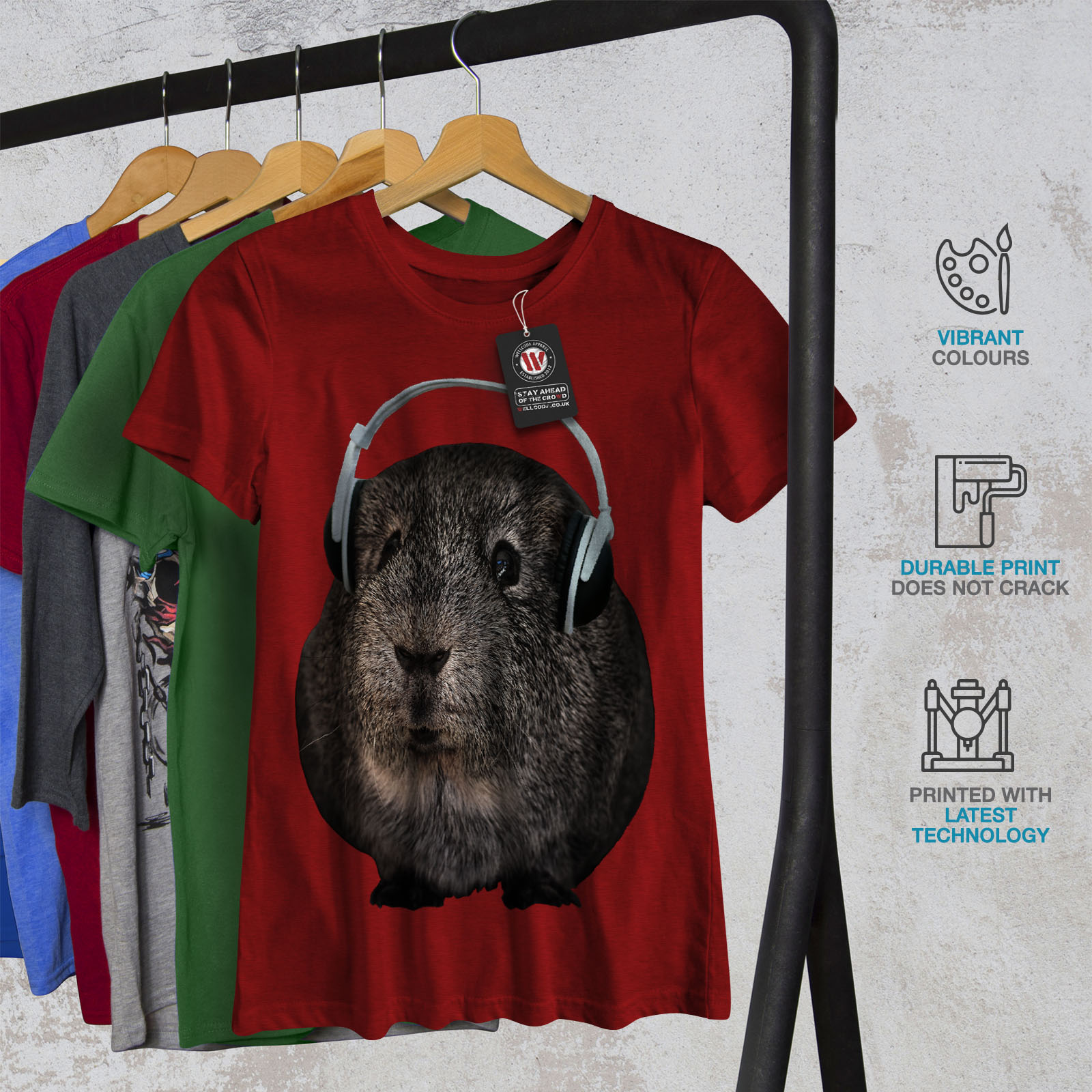 Wellcoda-Guinea-Maiale-BEAT-Divertente-T-shirt-da-donna-design-casual-Animale-Stampato-Tee miniatura 12