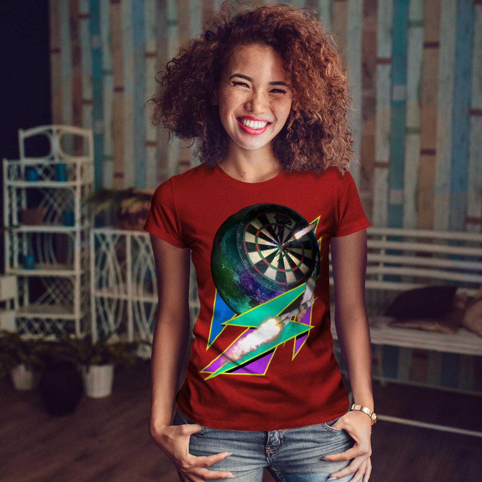 miniature 10 - Wellcoda Dart Board Gaming Womens T-shirt, Achieve Casual Design Printed Tee