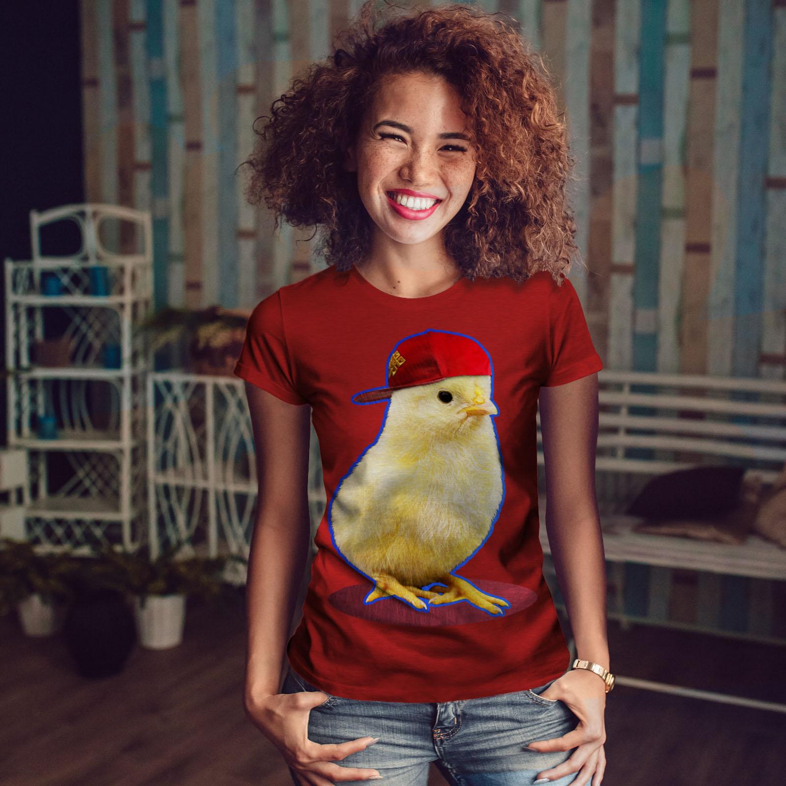 poulet Casual Design Imprimé Tee Wellcoda Gangster mignon Imprimer T-shirt femme