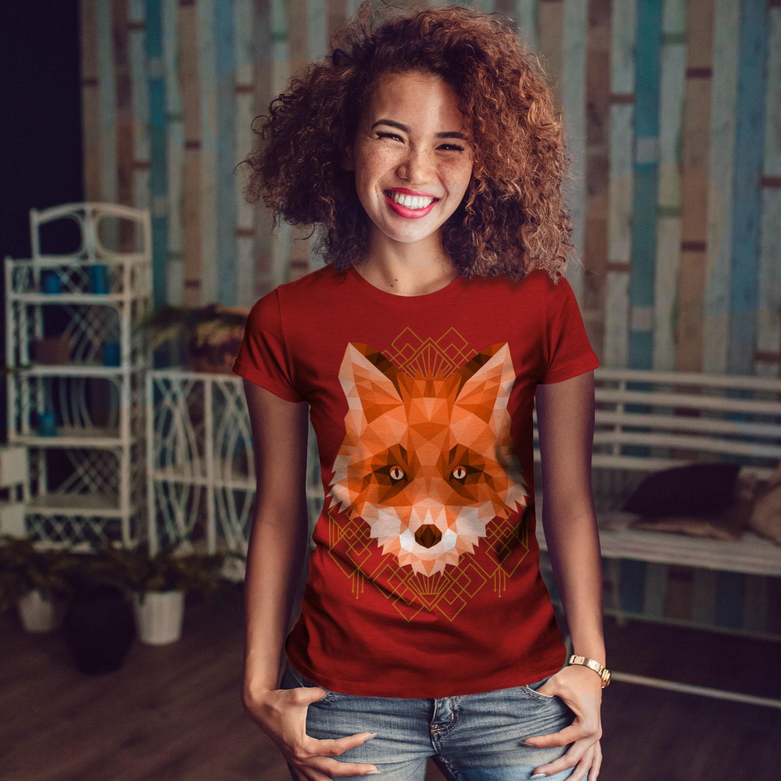 Wellcoda-polygonale-Fire-Fox-T-shirt-femme-animal-Casual-Design-Imprime-Tee miniature 10