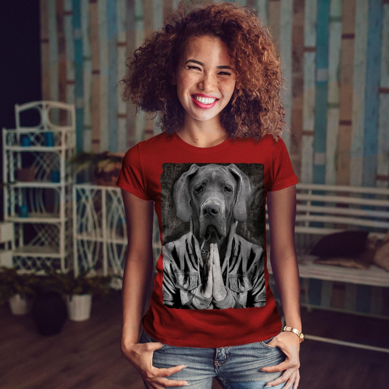 Wellcoda Great Dane face Cool Dog T-shirt femme Pet Casual Design Imprimé Tee